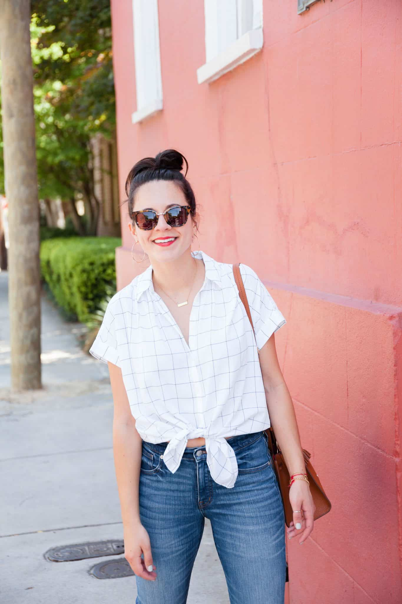 Madewell button down knotted top - My Style Vita @mystylevita