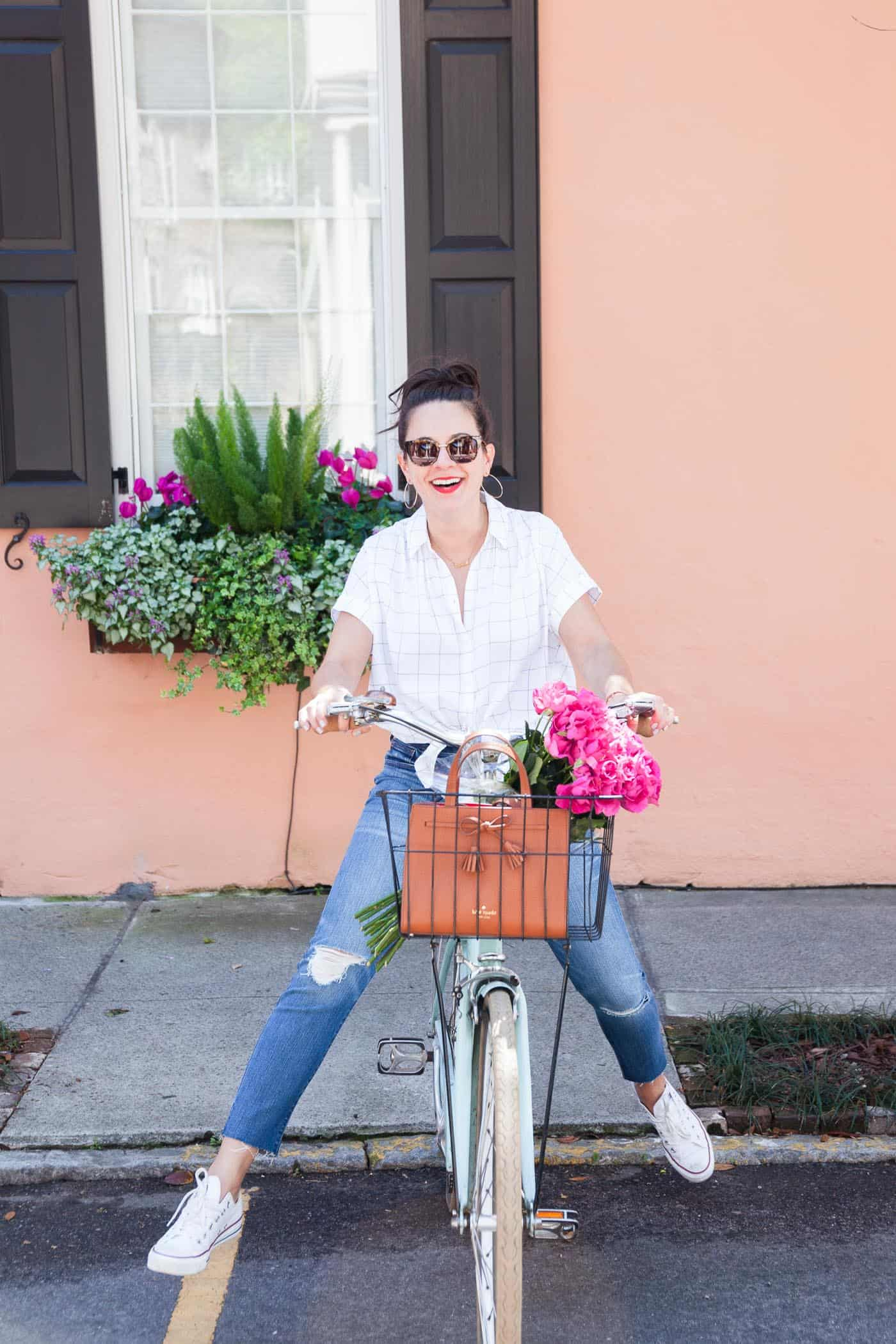 How to dress the right way for a day on a bike, bicycle with flowers in the basket - My Style Vita @mystylevita