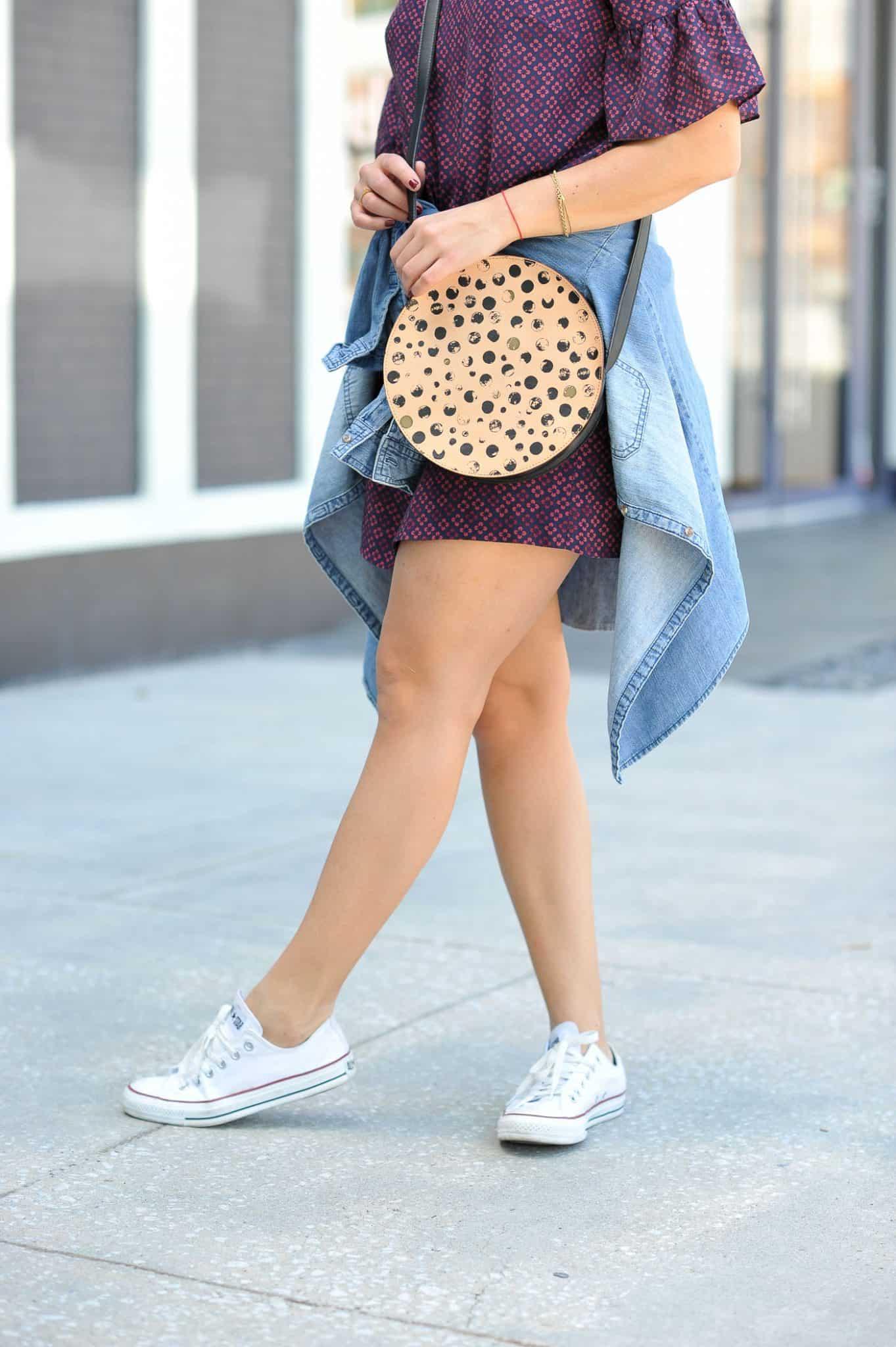 Ways to wear Converse sneakers, circle purse - My Style Vita @mystylevita