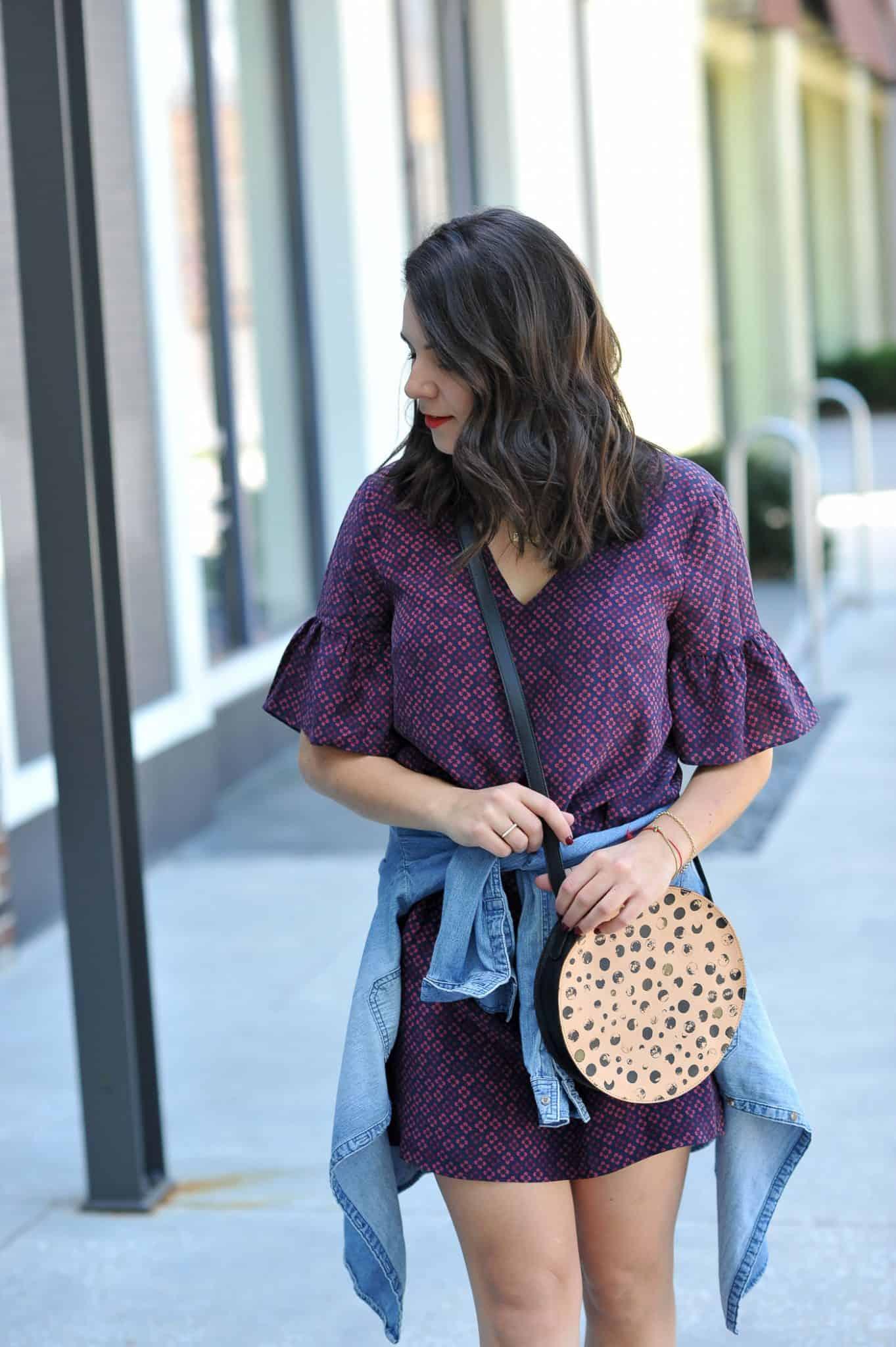 Madewell printed flutter sleeve dress, purple dress, circle leather purse - My Style Vita @mystylevita