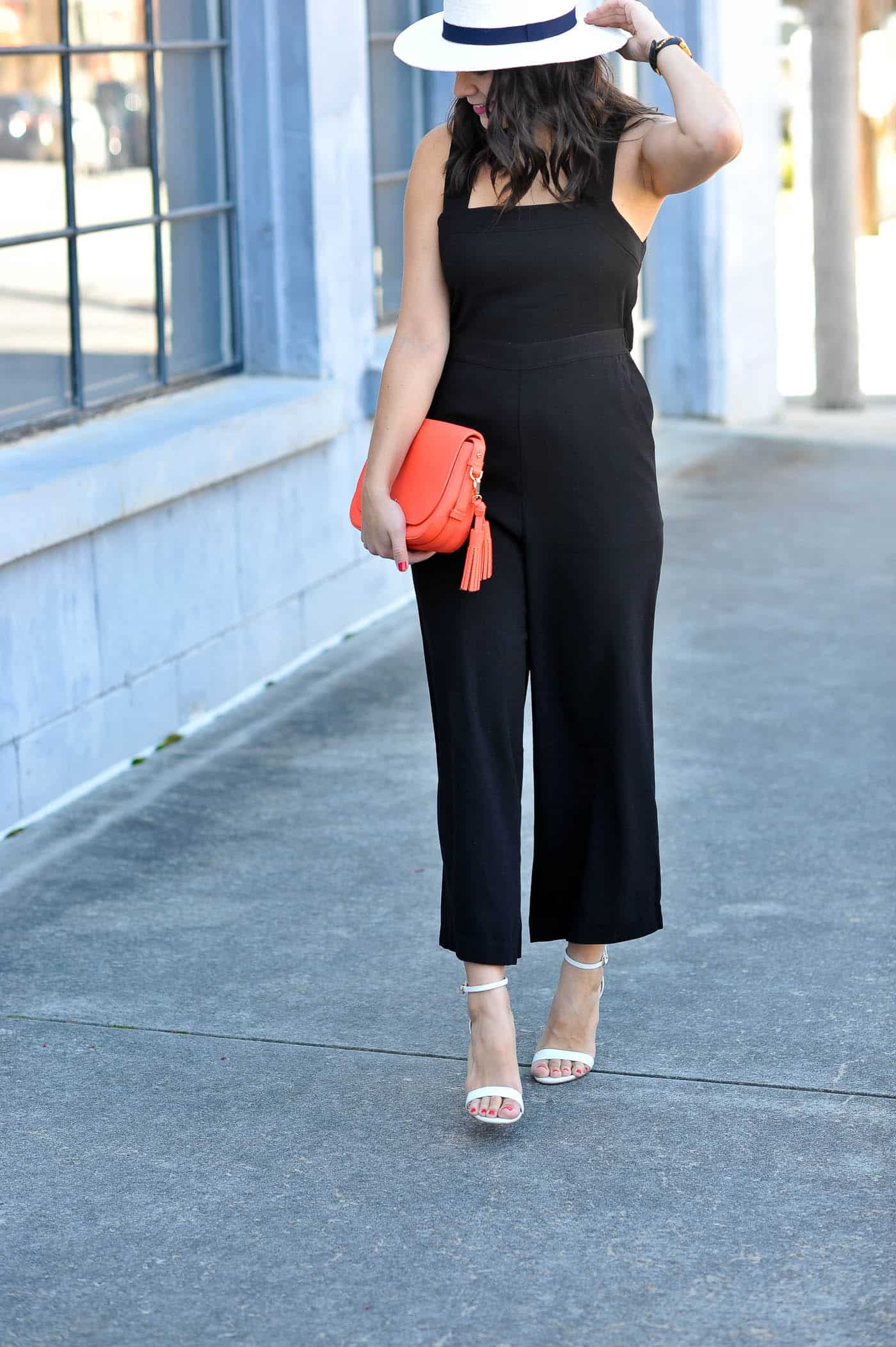 how to style a black jumpsuit for summer