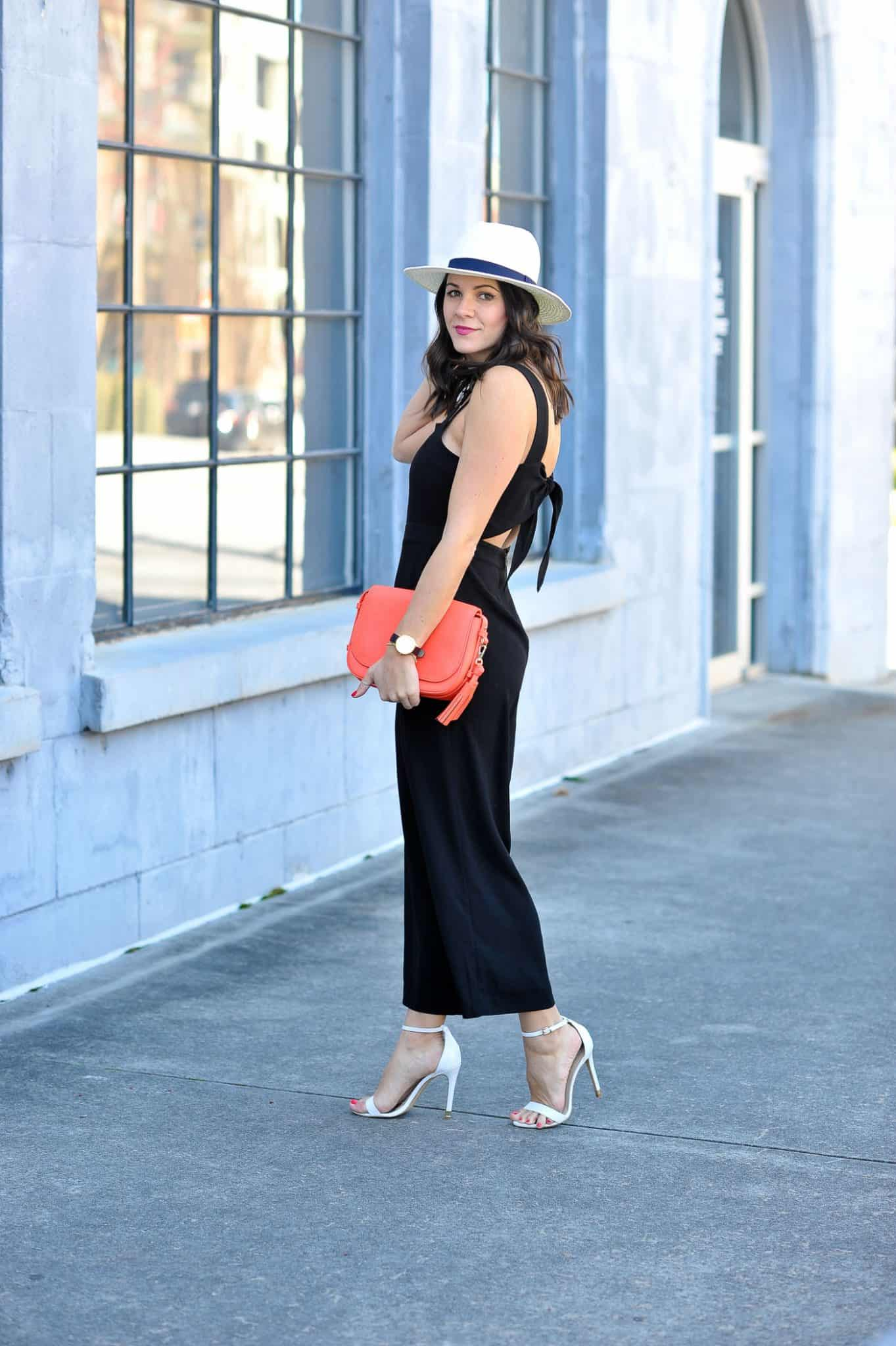 fedora and jumpsuit