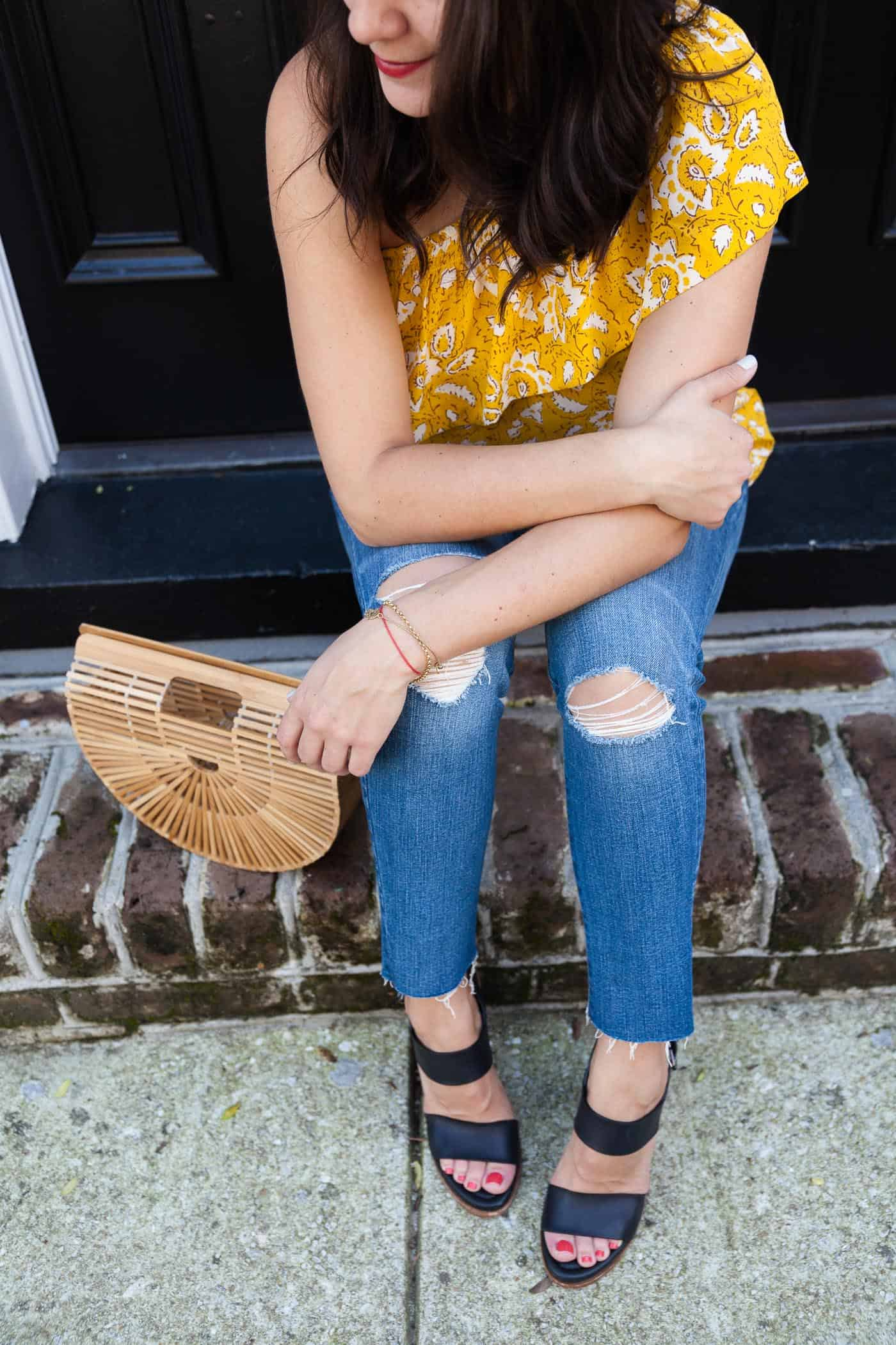yellow top for summer, Madewell one shoulder top, Charleston - My Style Vita @mystylevita