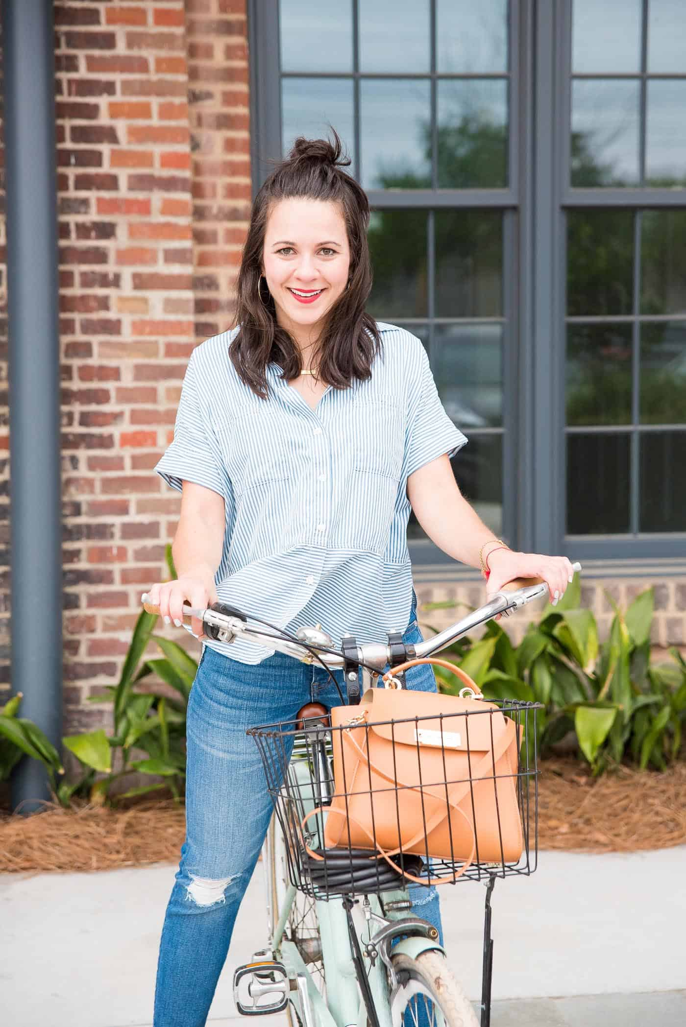 striped shirt, cute outfit for bikes - My Style Vita @mystylevita