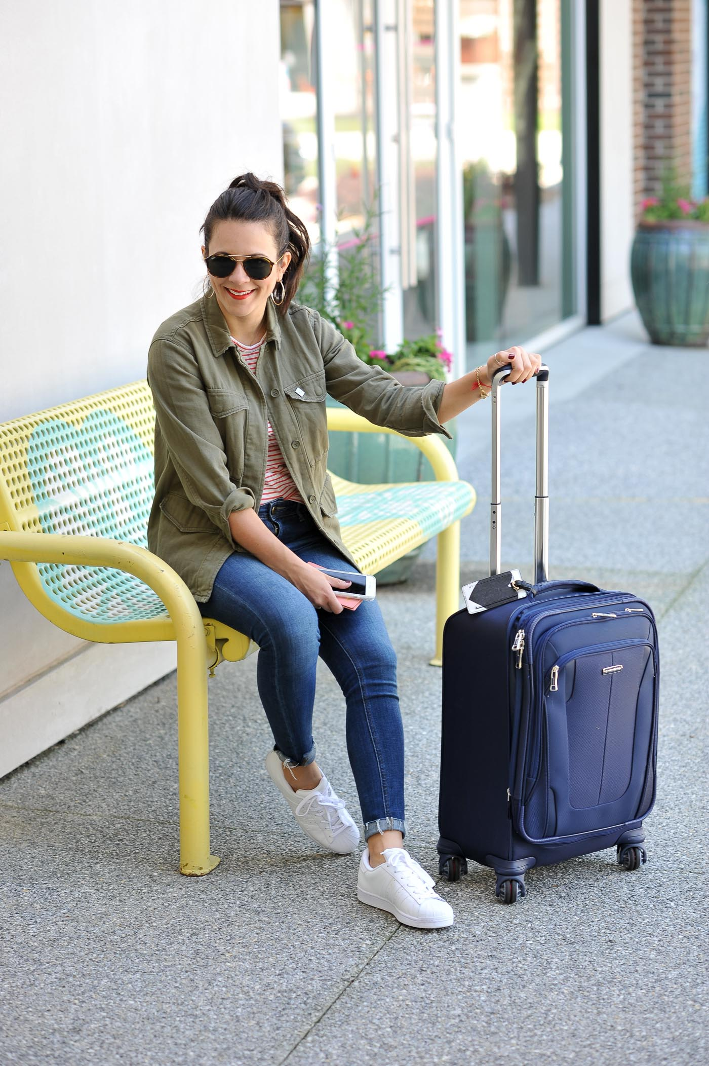 How to dress comfortably for the airport and still look cute, airport style, suitcase - My Style Vita @mystylevita
