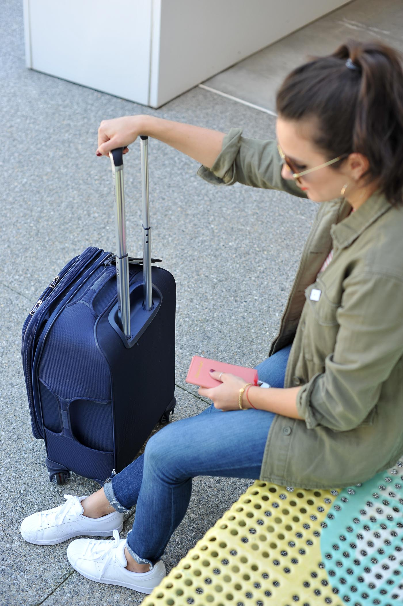 airport style, cute outfit with suitcase, girl with suitcase - My Style Vita @mystylevita