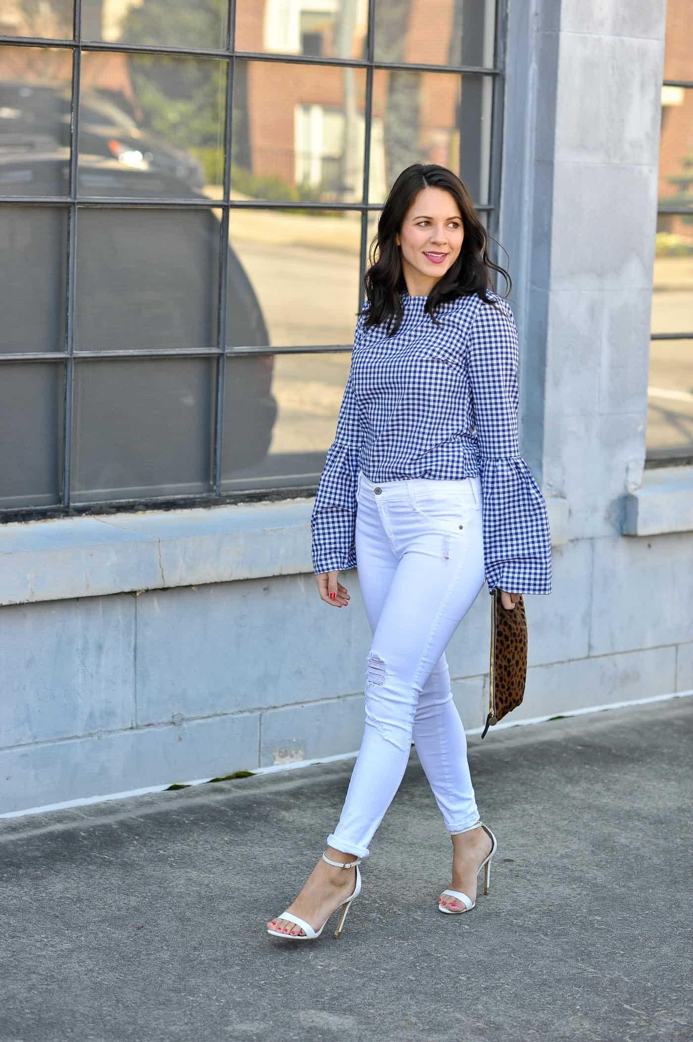 "b7e134aa Gingham Bell Sleeve Top | James Jeans (last seen here) | Topshop Heels  (similar) | Clare Vivier Leopard Clutch | Sisley Lipstick in ""Poppy"""