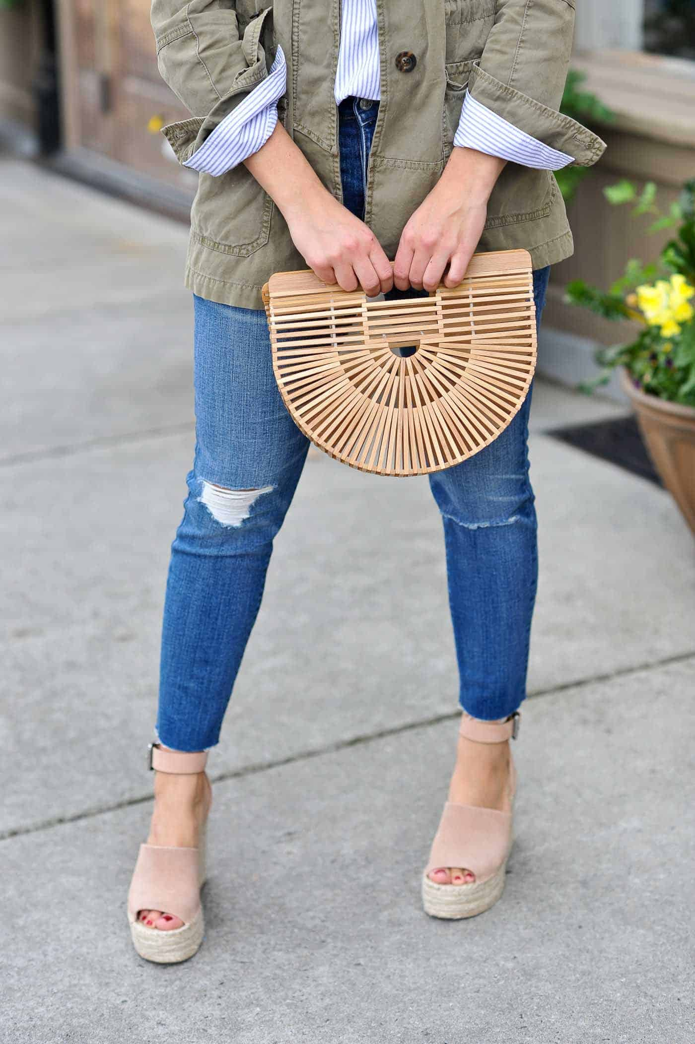 casual spring outfits with denim, spring outfit, cult gaia bag by My Style Vita -@mystylevita