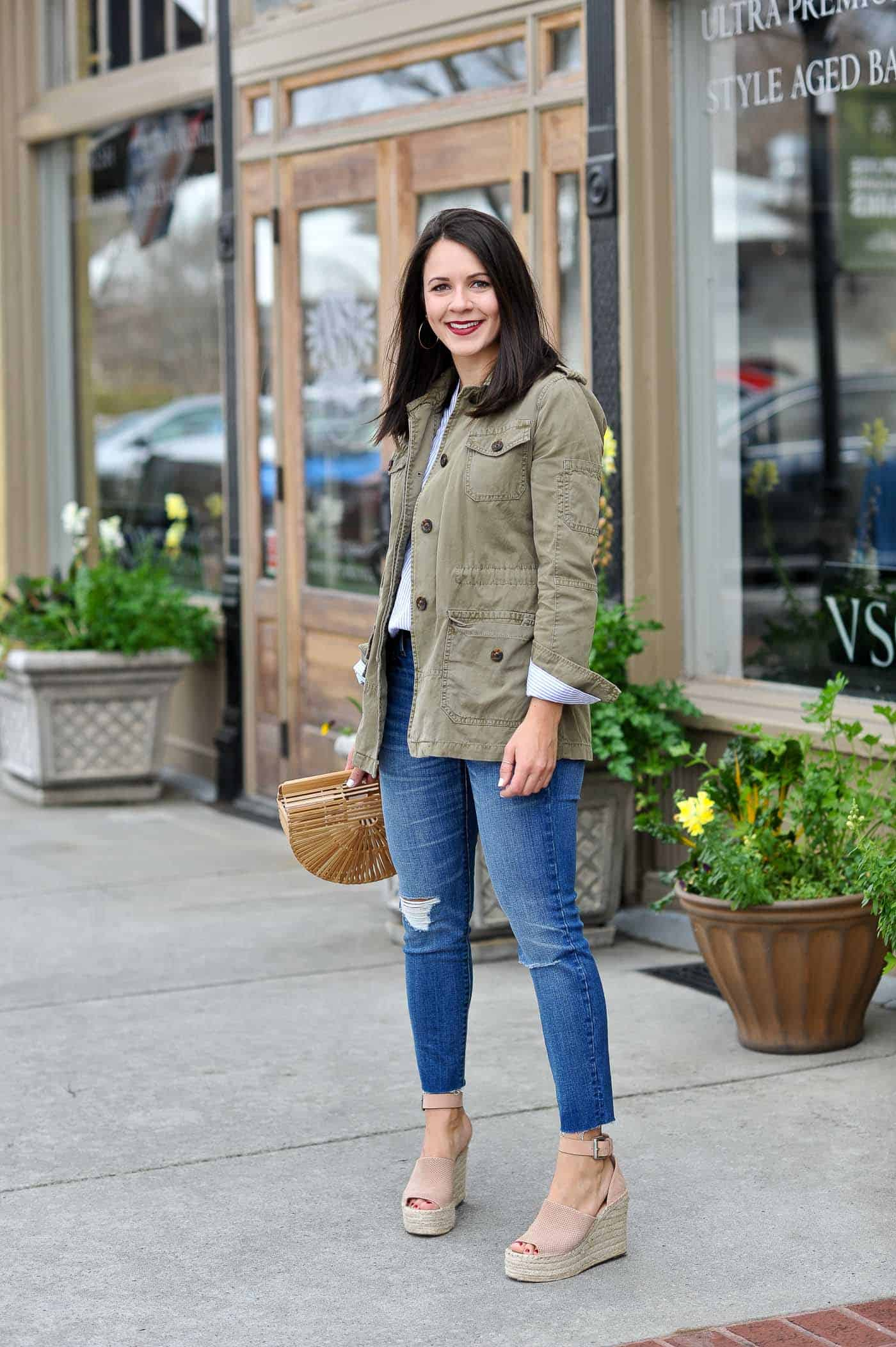 casual spring outfits with denim, spring outfit, cult gaia bag - My Style Vita -@mystylevita