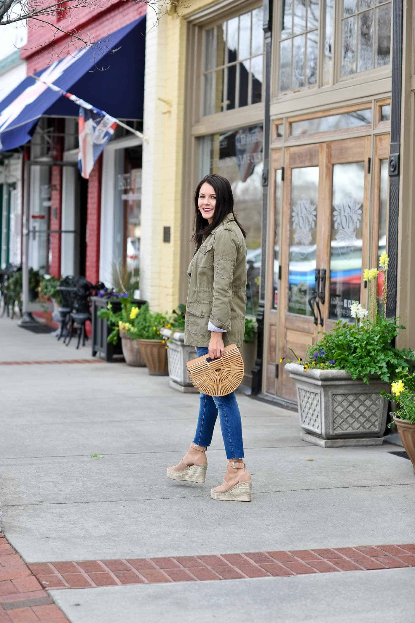 casual spring outfits with denim, espadrilles, cult gaia bag - My Style Vita -@mystylevita