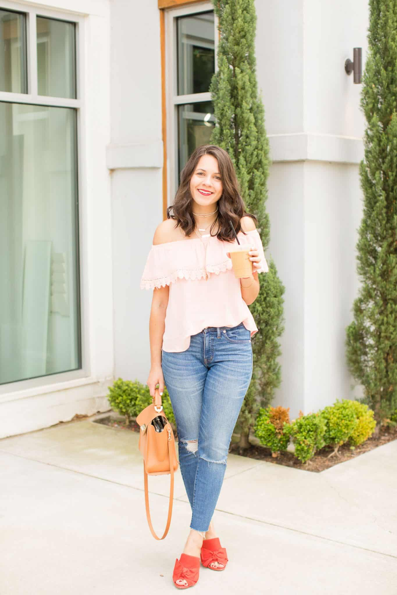 summer color combinations - pink off the shoulder top - iced coffee - My Style Vita @mystylevita