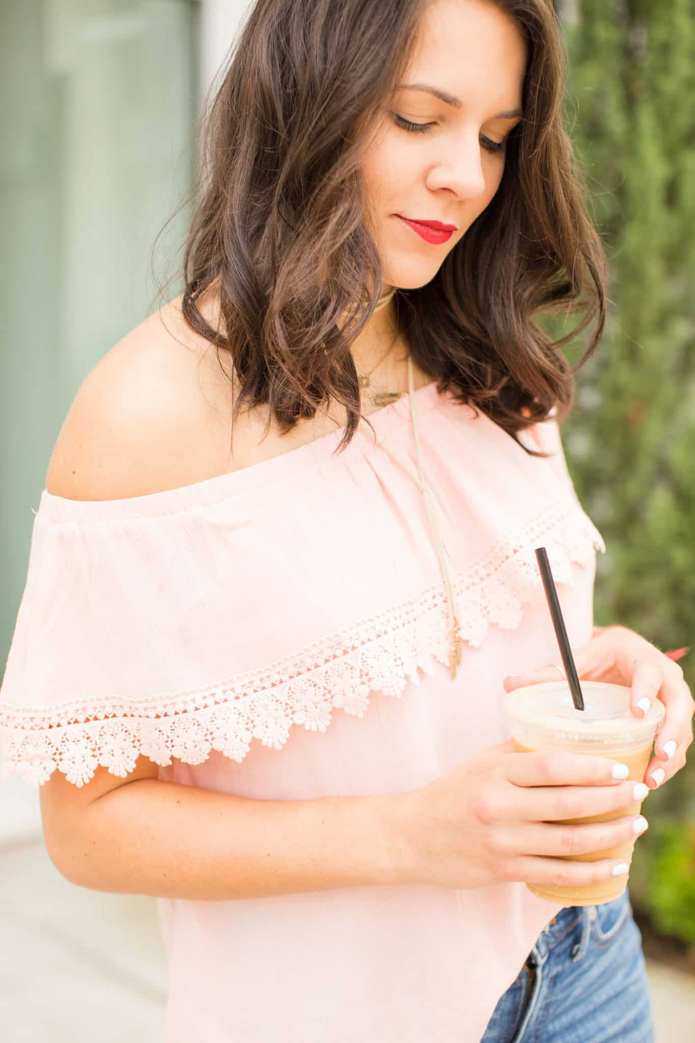 pink off the shoulder top - iced coffee - My Style Vita @mystylevita