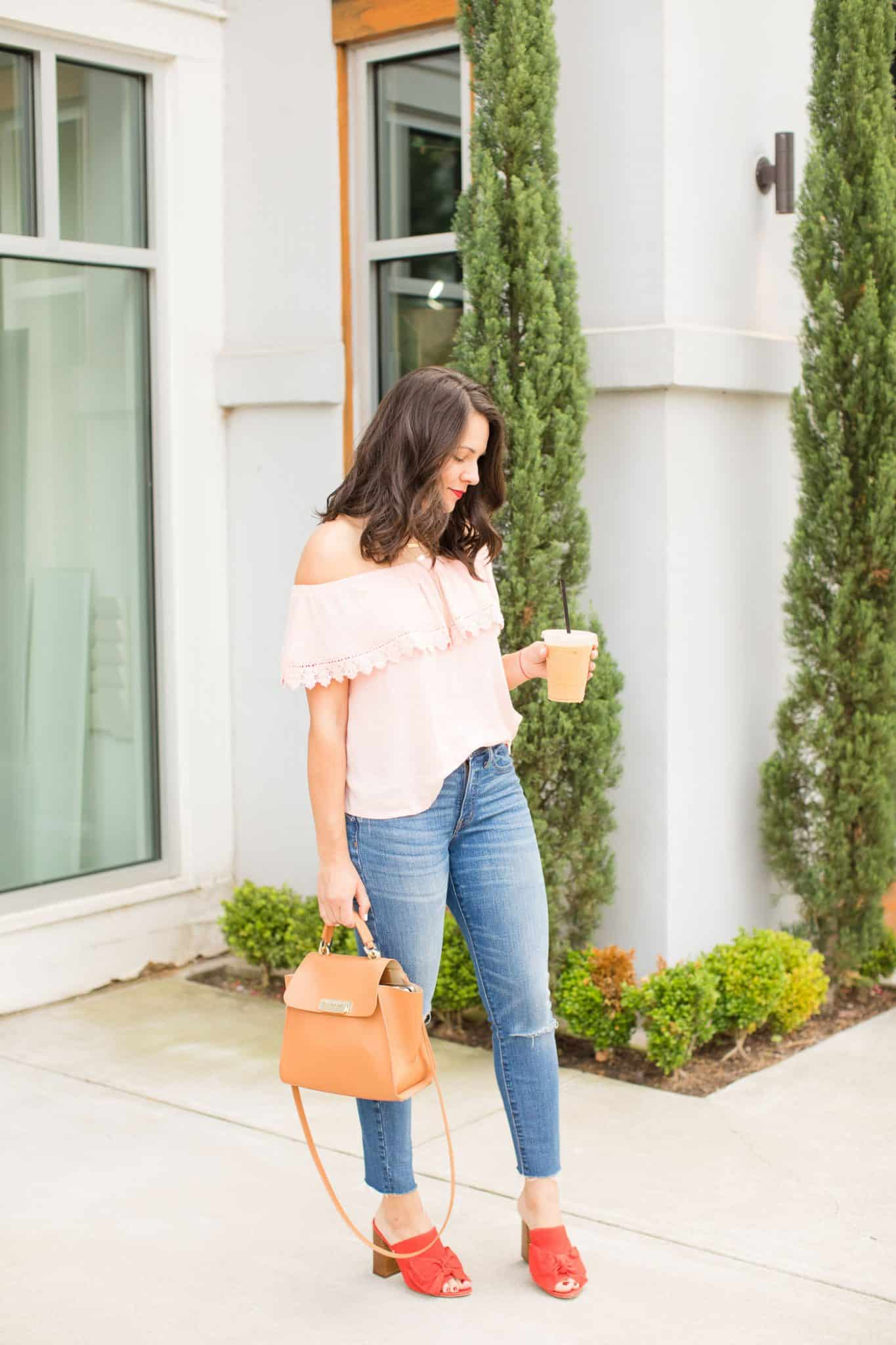 summer color combinations, pink off the shoulder top - iced coffee - My Style Vita @mystylevita