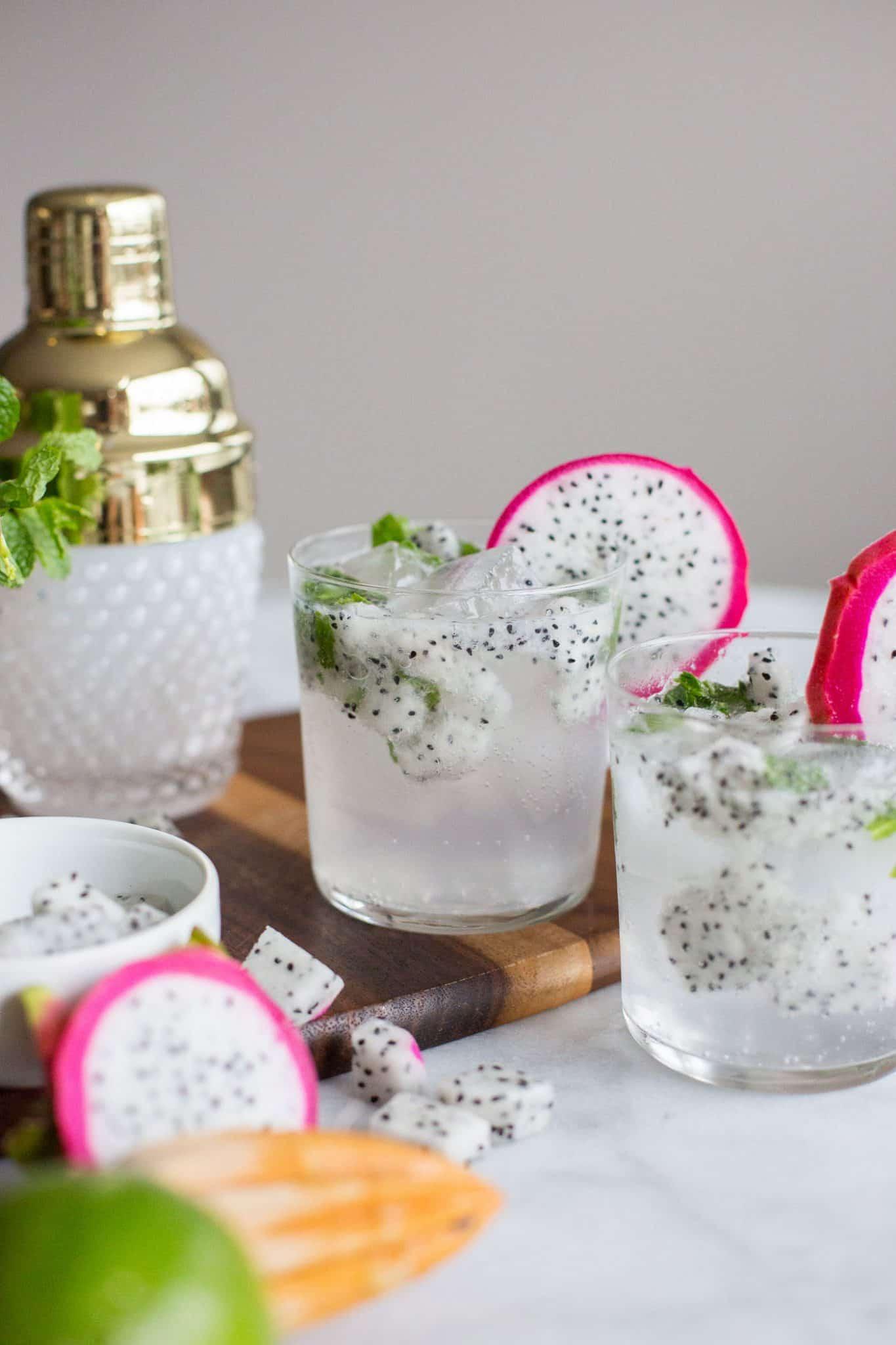 dragonfruit cocktails, summer dragonfruit mojito