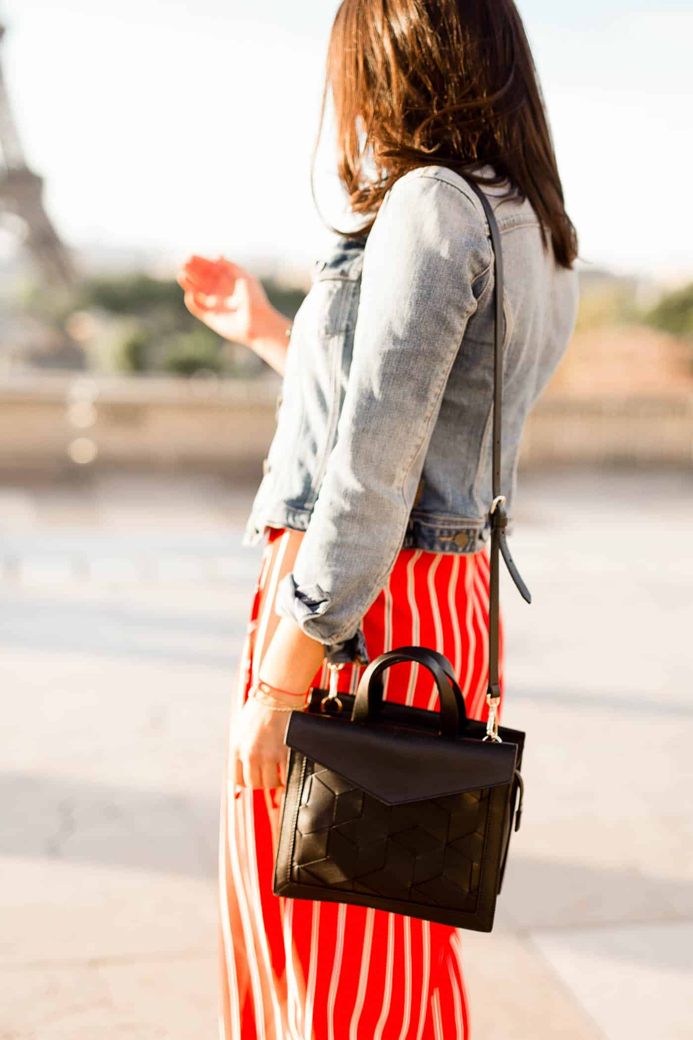 striped dress and denim jacket - My Style Vita @mystylevita