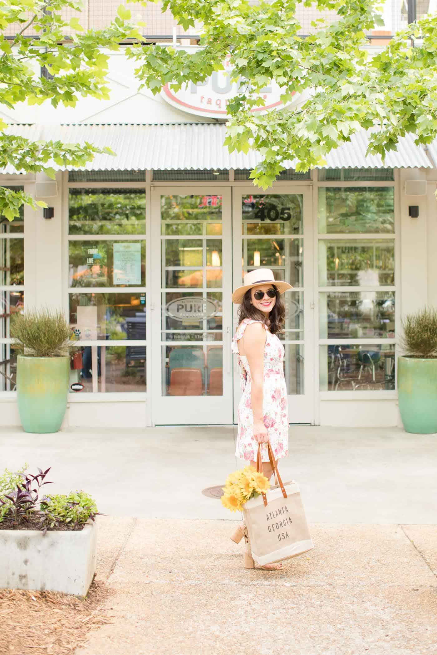 floral dress and sunflowers, summer outfits - My Style Vita @mystylevita
