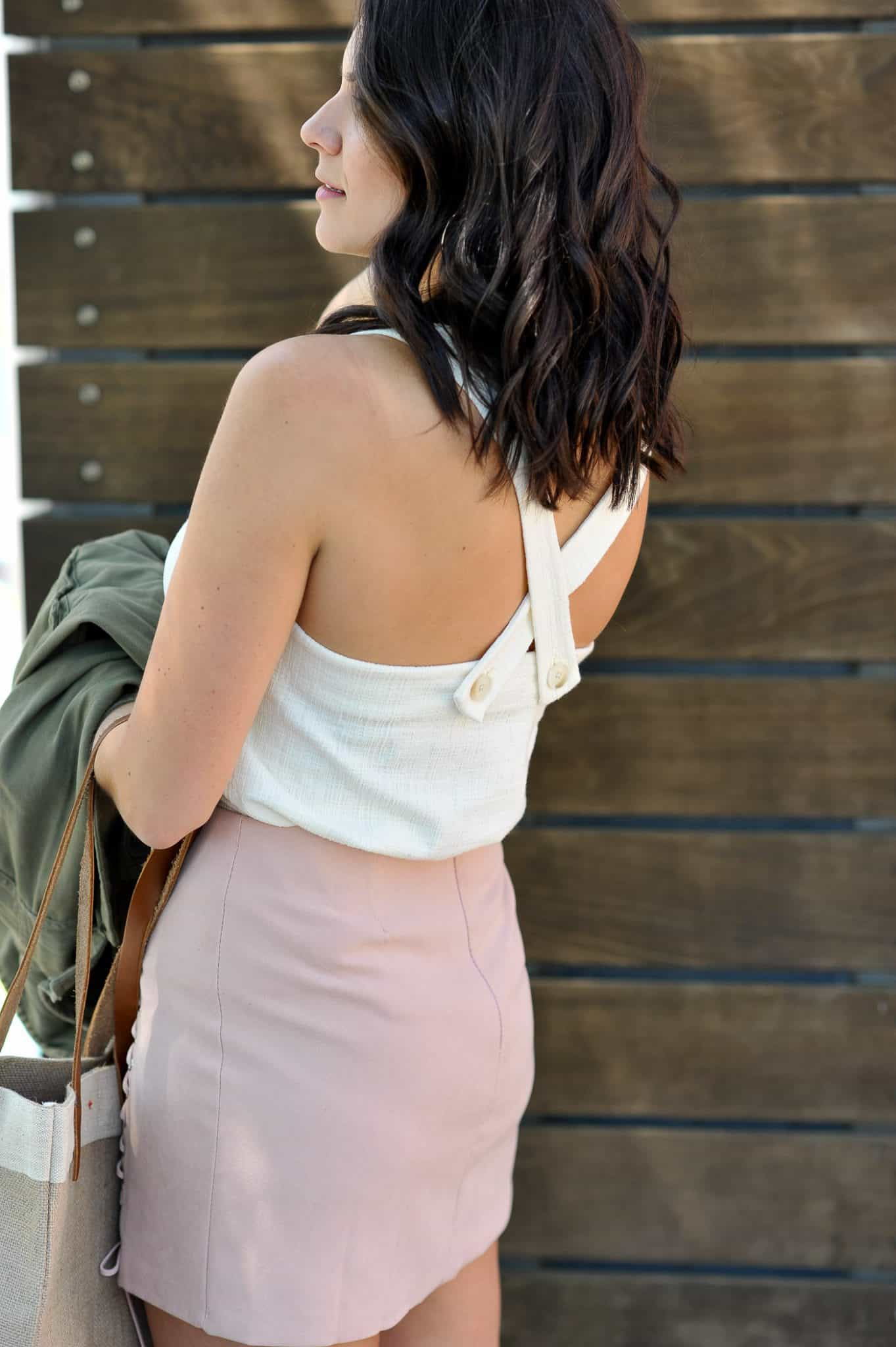Short hair ideas, lace up blush mini skirt, casual summer outfit ideas - My Style Vita @mystylevita