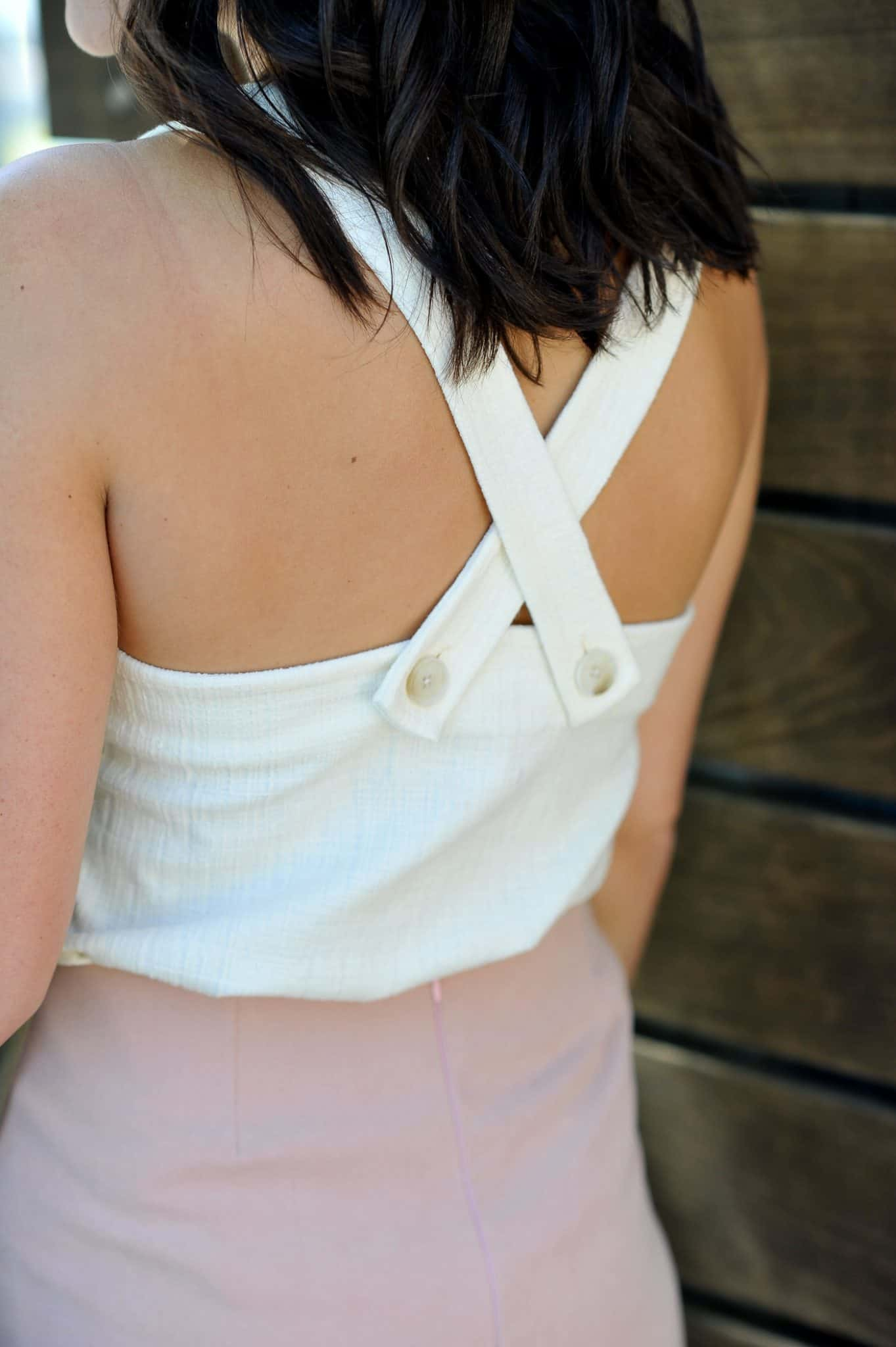 Madewell criss cross tank, lace up blush mini skirt, casual summer outfit ideas - My Style Vita @mystylevita