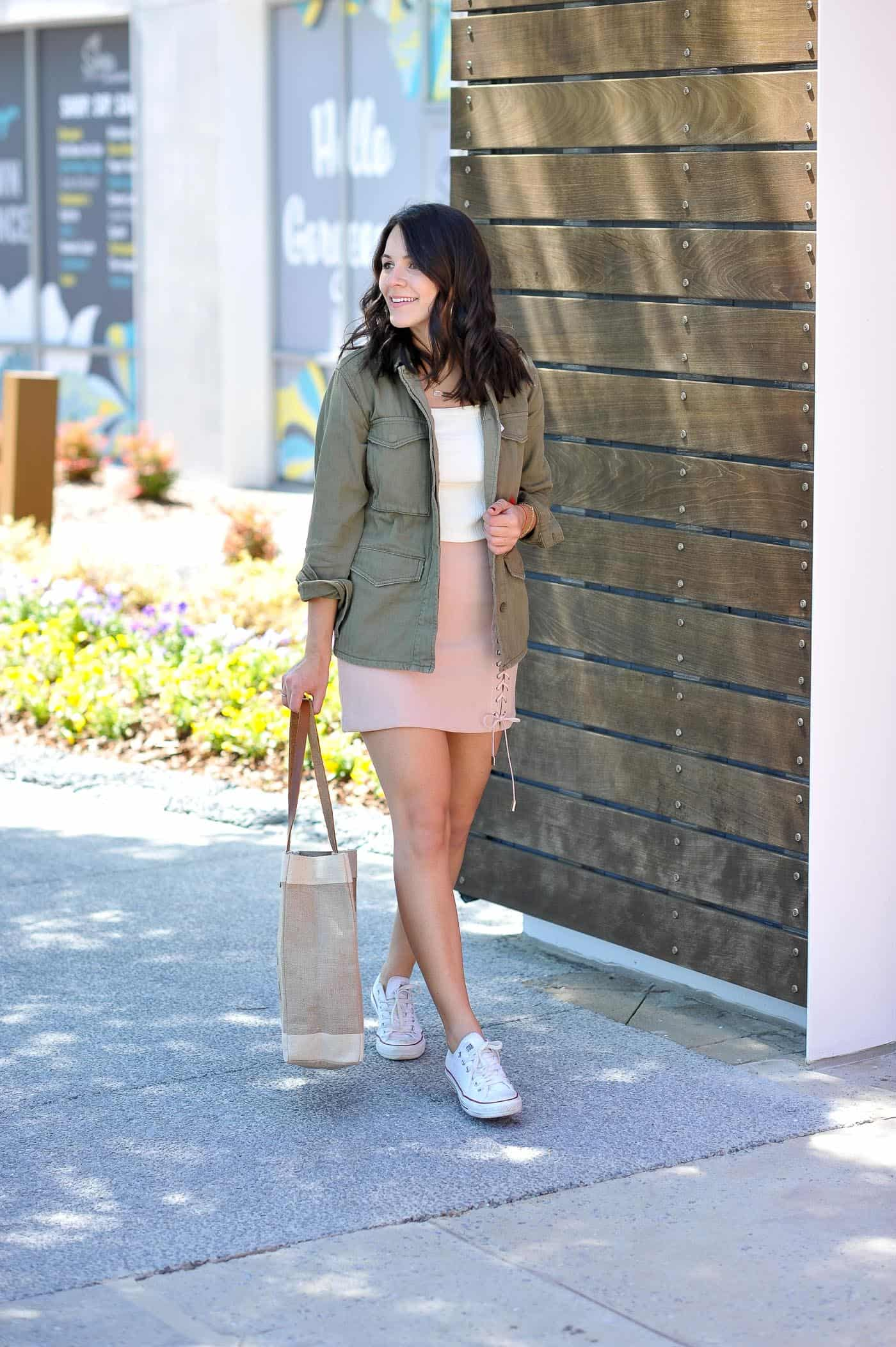 Converse sneaker outfit ideas, lace up blush mini skirt, casual summer outfit ideas - My Style Vita @mystylevita