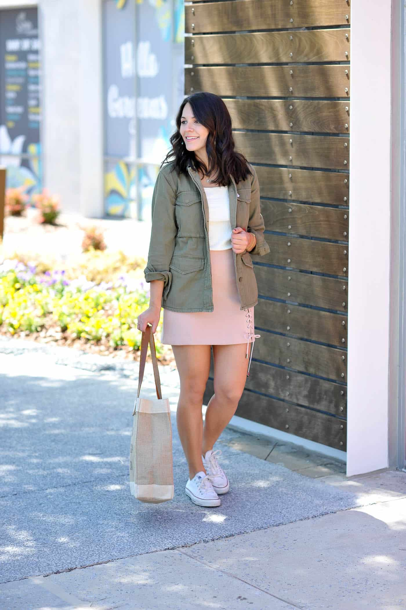 lace up blush mini skirt, casual summer outfit ideas - My Style Vita @mystylevita