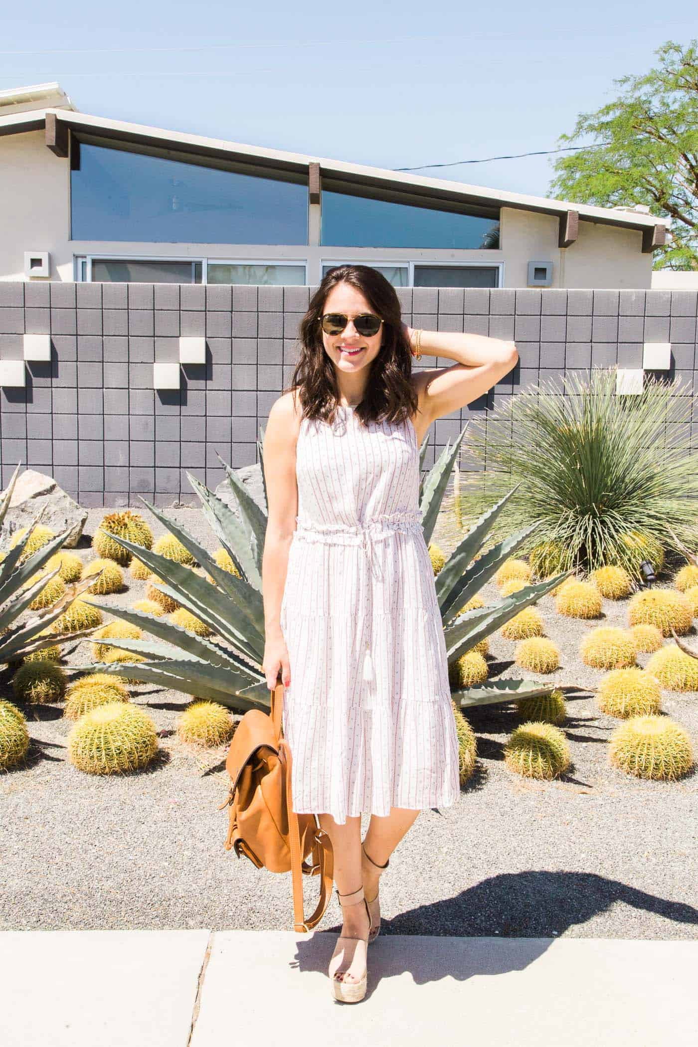 midi length white dress for summer - palm springs - palm trees - My Style Vita @mystylevita