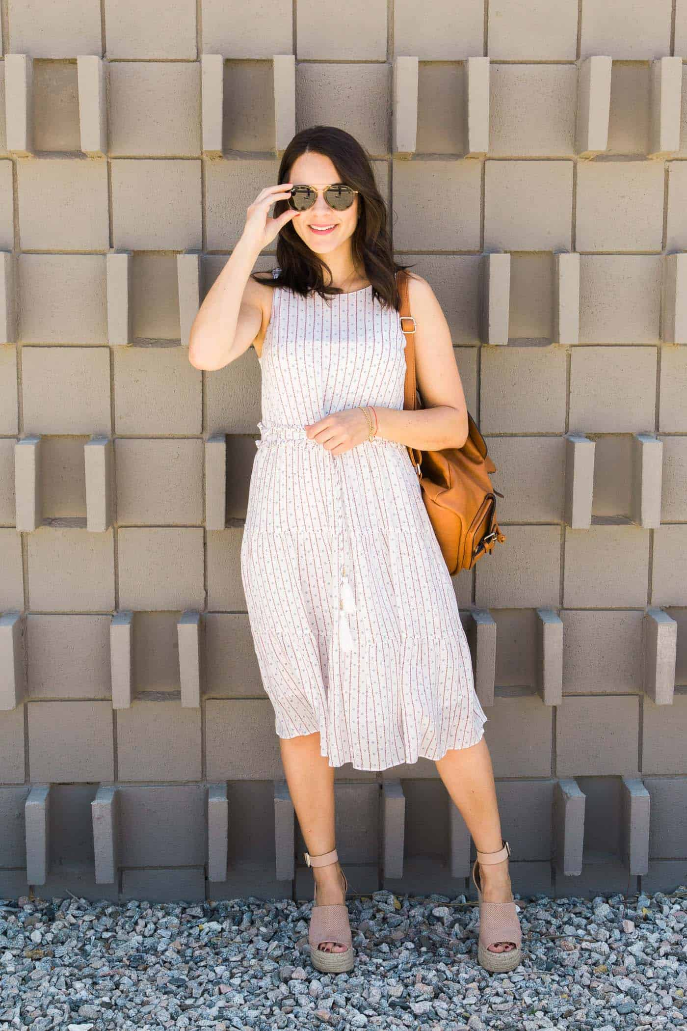 Moon River midi length white dress for summer - My Style Vita @mystylevita