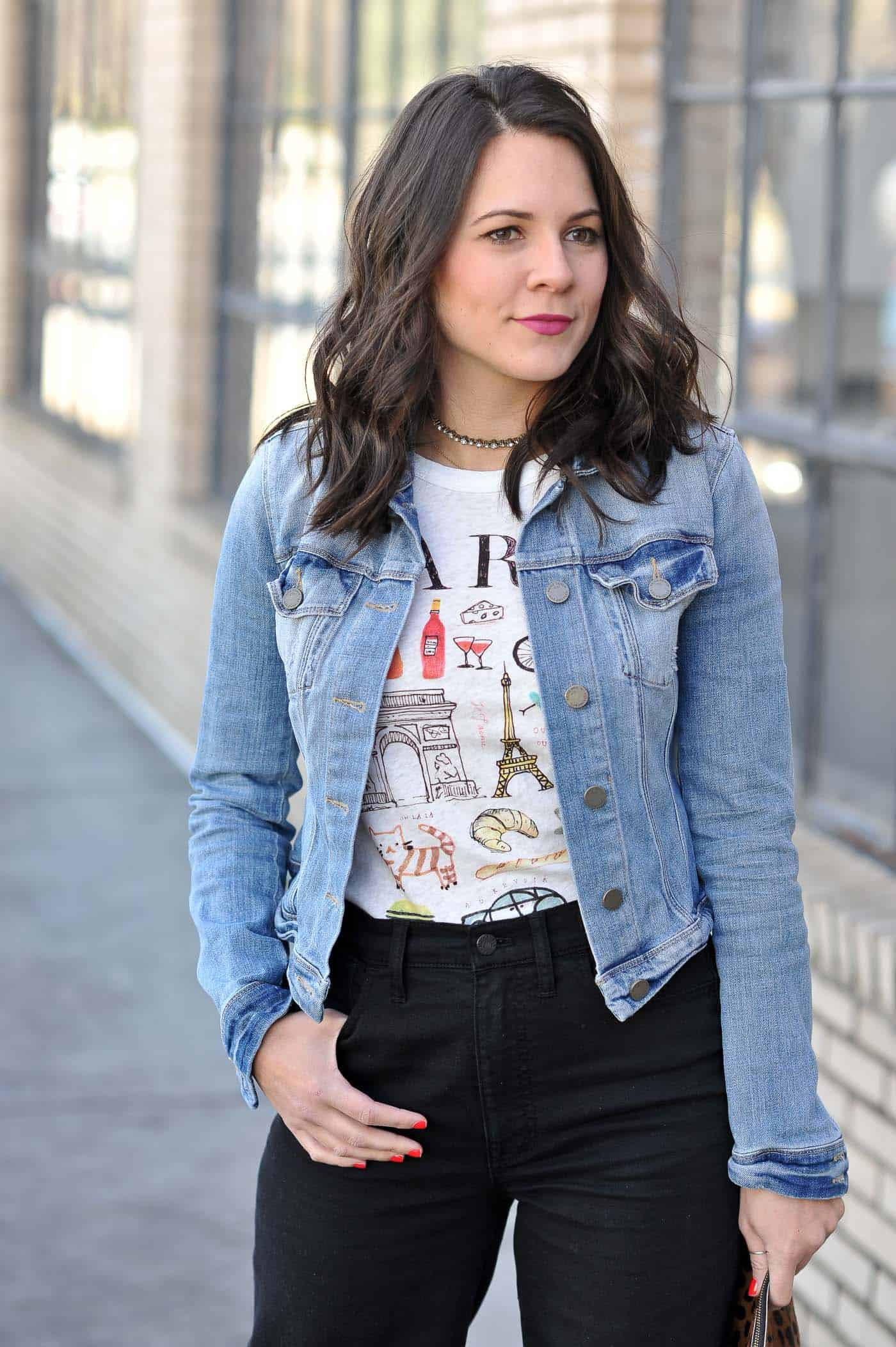 Paris graphic tee - denim jacket for spring - My Style Vita @mystylevita
