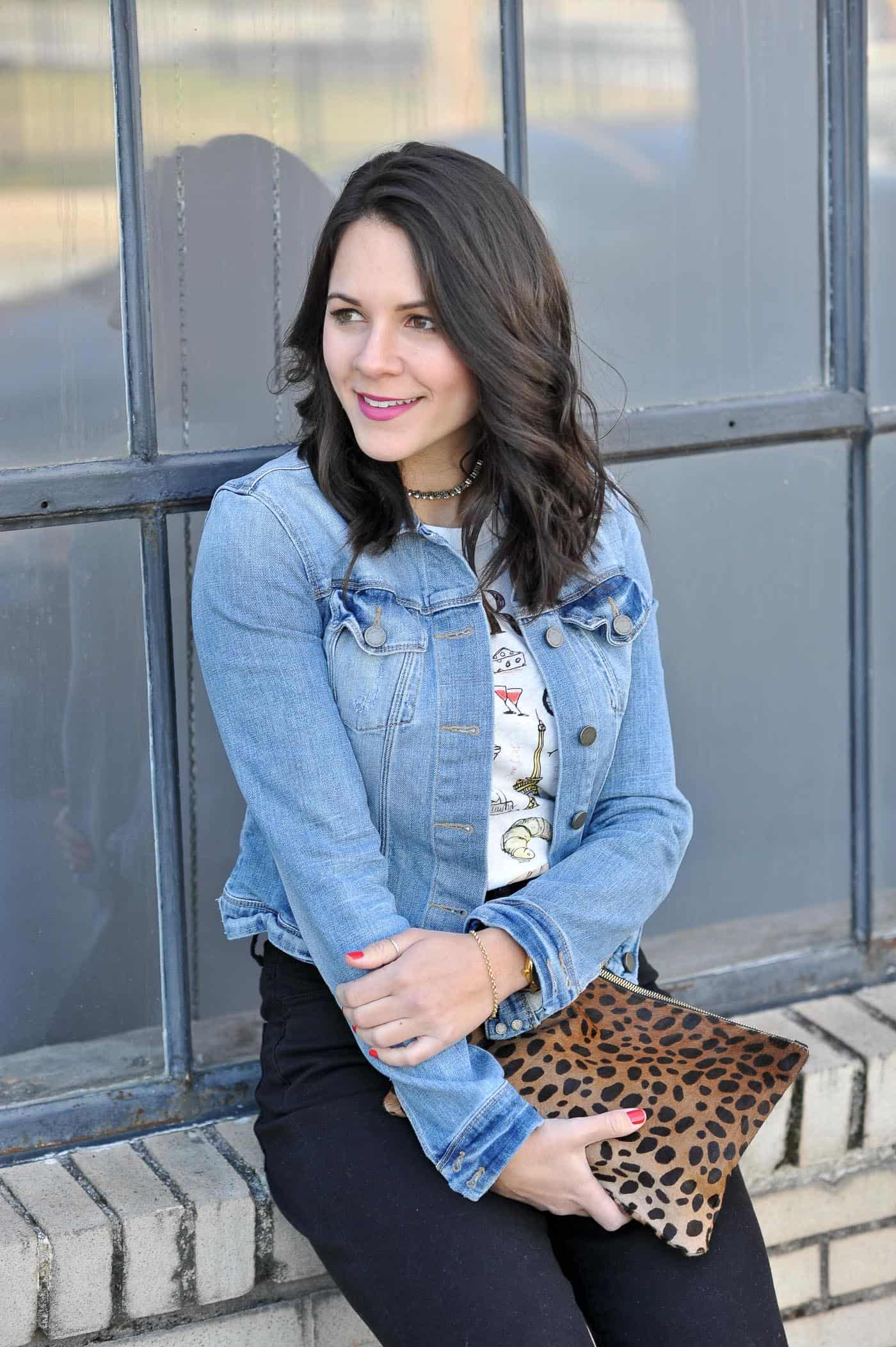 denim jacket and a graphic tee- My Style Vita @mystylevita