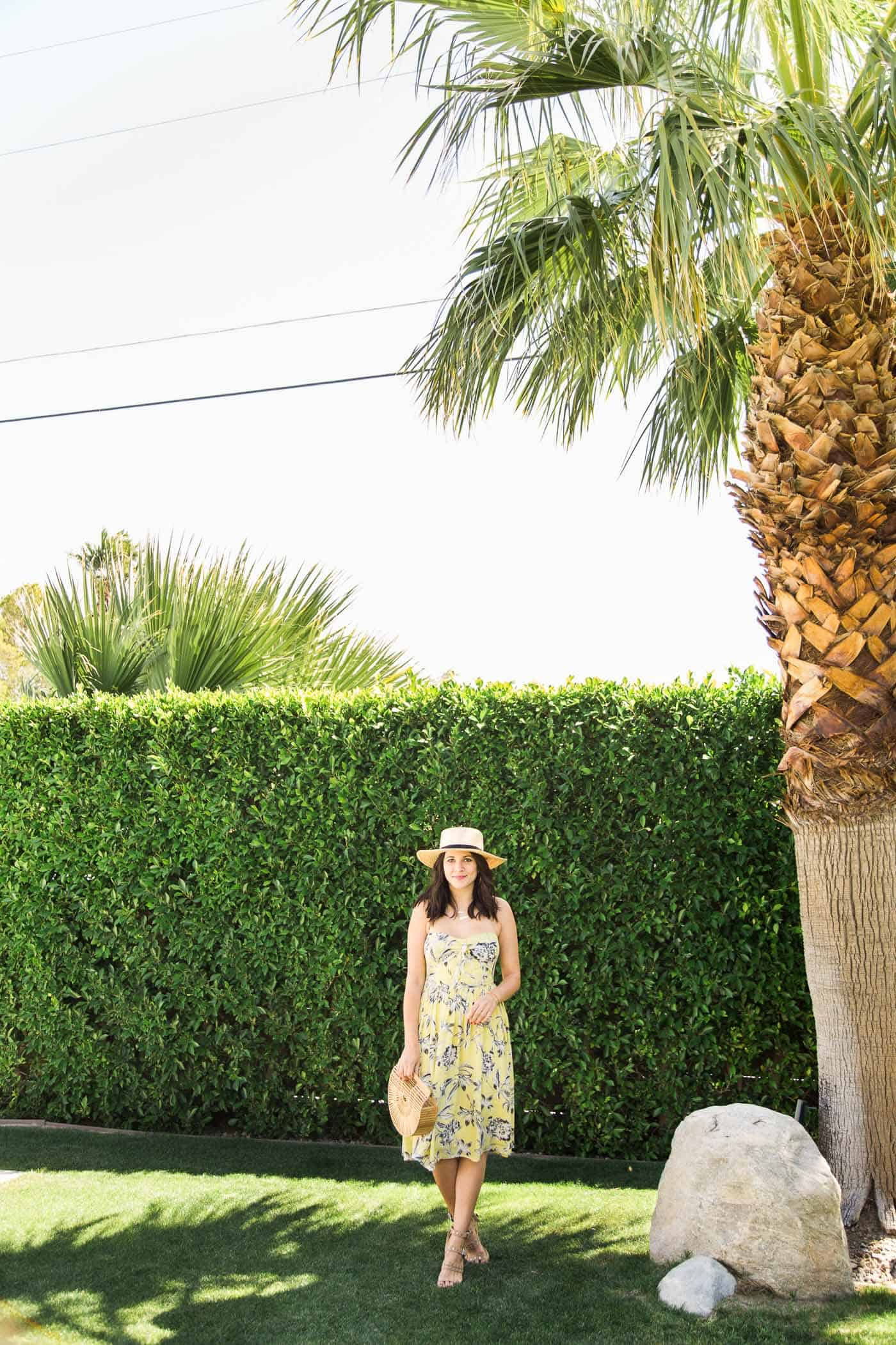yellow sundress, summer outfit, palm springs - My Style Vita @mystylevita