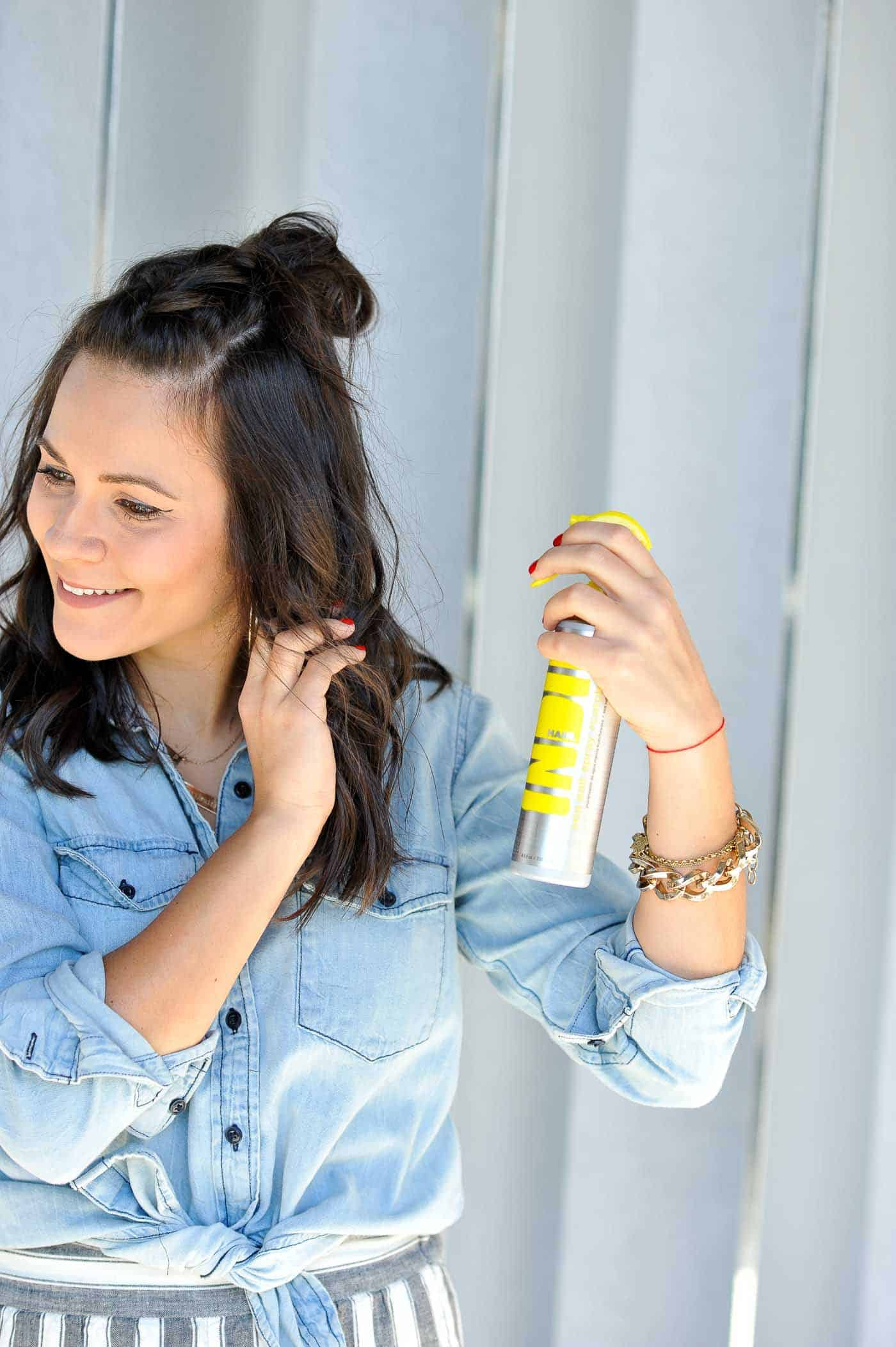braided half up half down hairstyle, how to do a top knot - My Style Vita @mystylevita