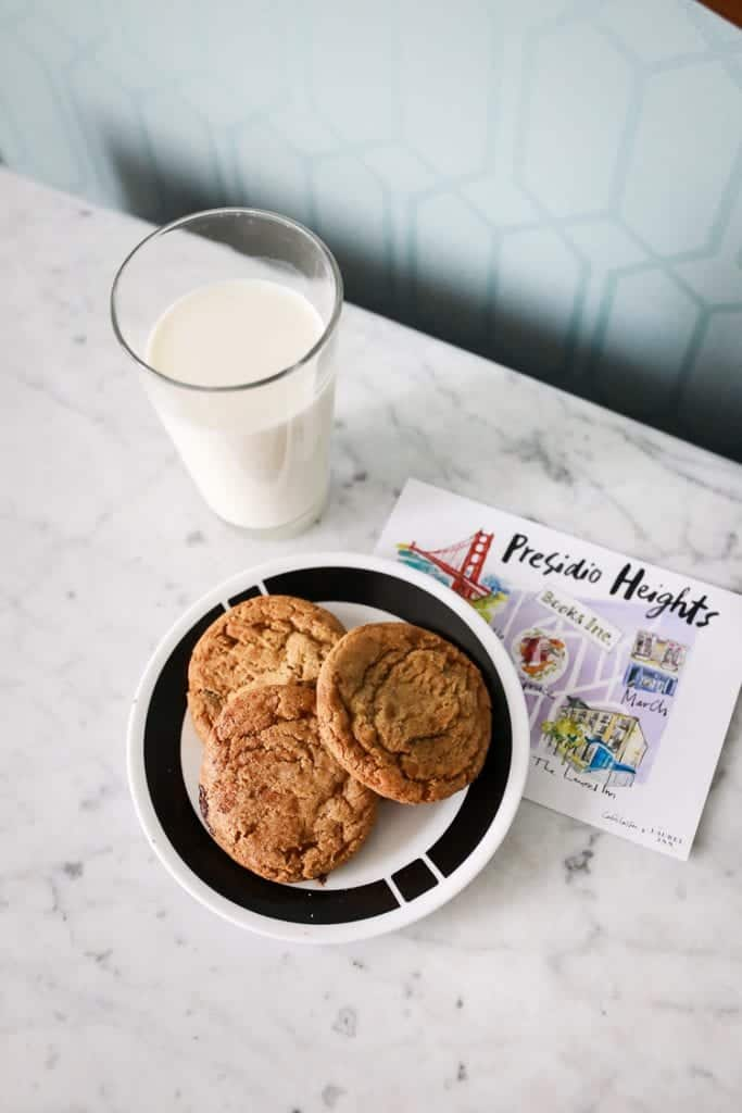 cookies and milk at a cafe in SF