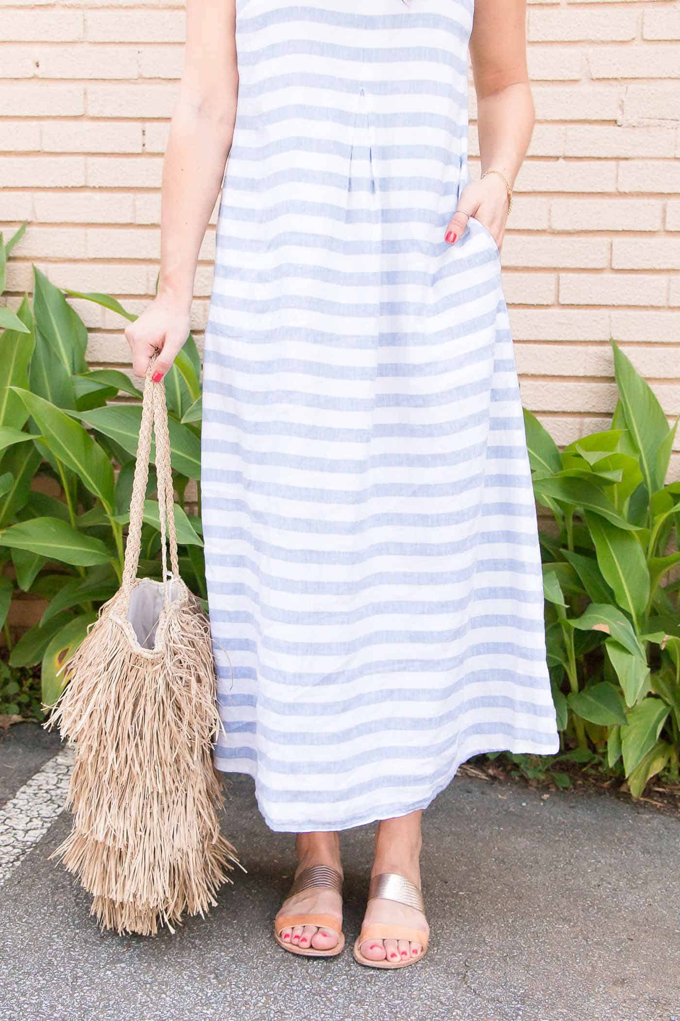 J. Jill striped summer dress - straw tote for summer, what to wear on a beach vacation - My Style Vita @mystylevita