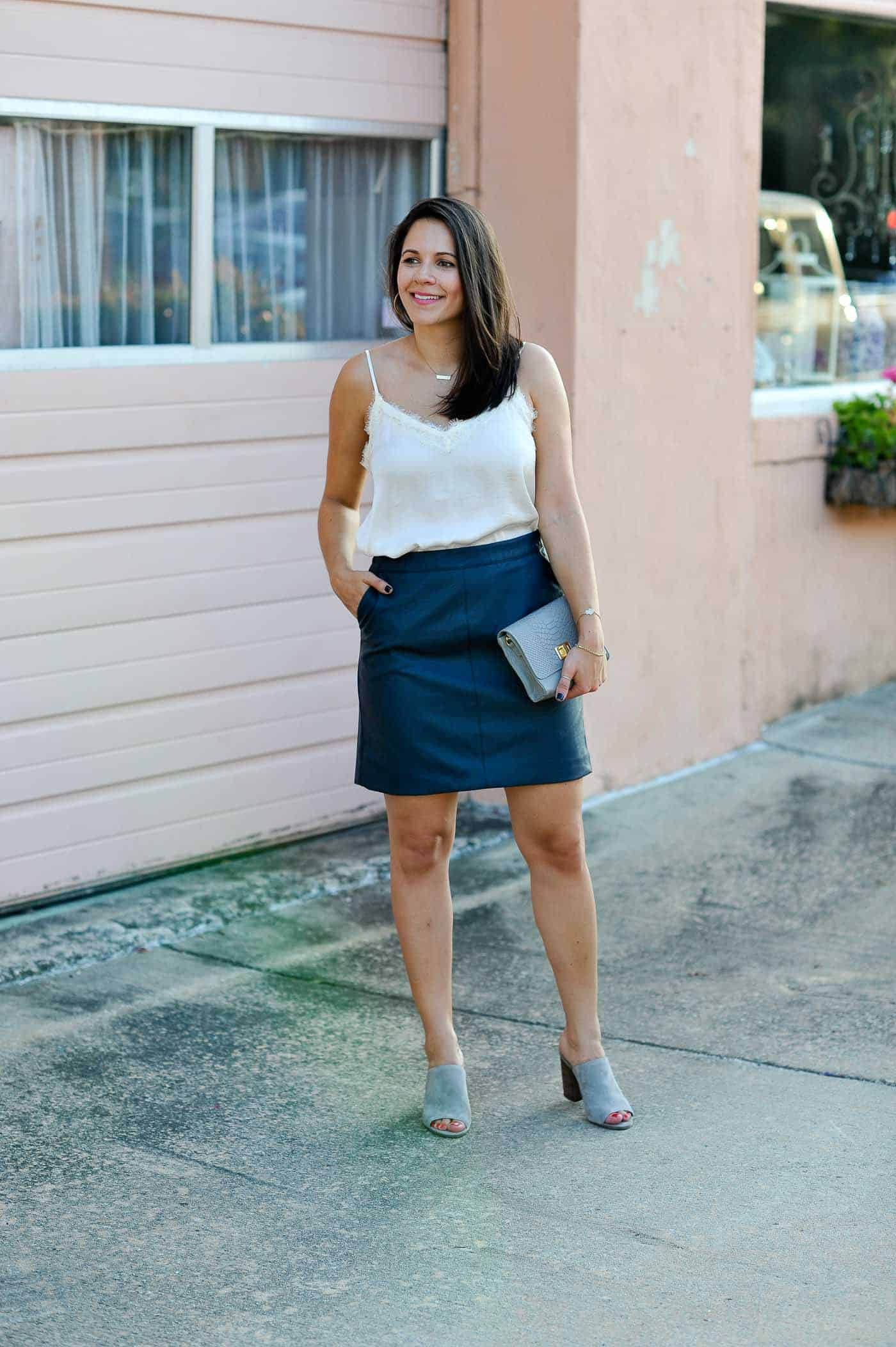 a3c61eefe lace tank and leather skirt outfit - My Style Vita @mystylevita