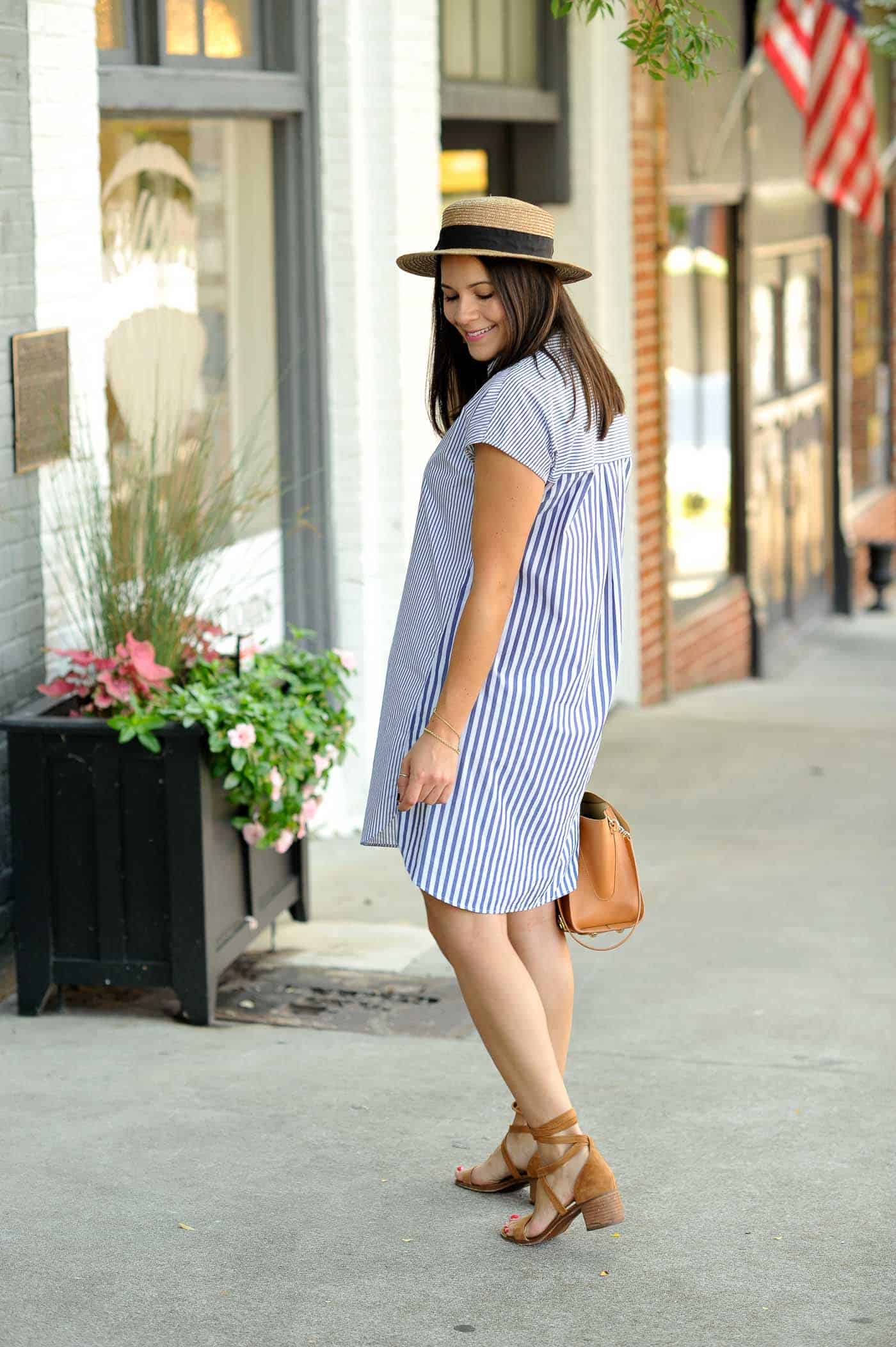 eeeccc81321 Madewell Striped Shirt Dress • Lace Up Sandals • Hat • Zac Zac Posen Bag
