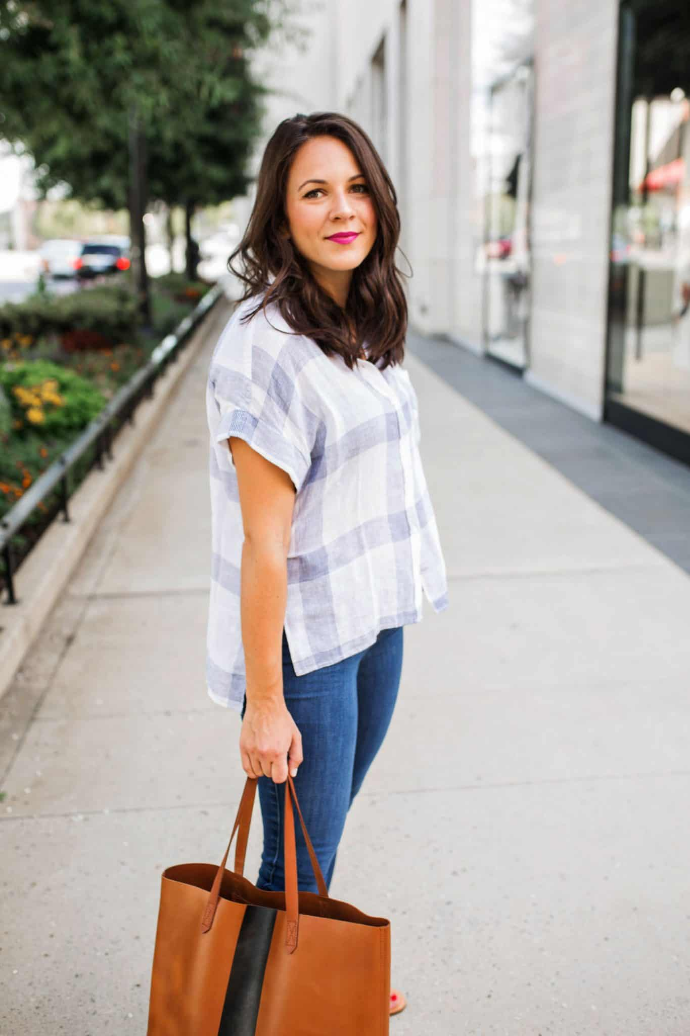 Plaid button down shirt on Jessica Camerata