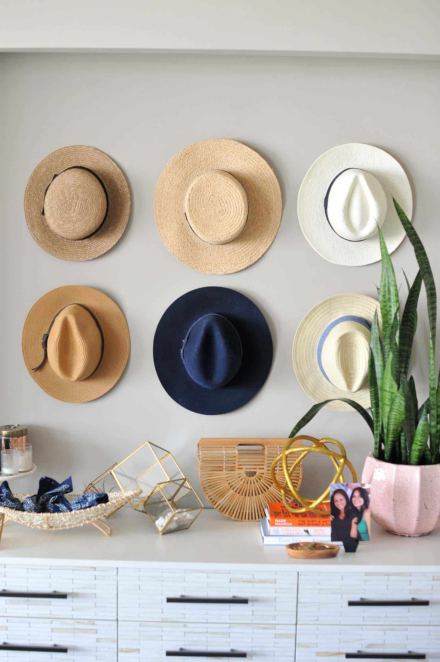Hat wall ideas, how to style a buffet, affordable home decor ideas - My Style Vita @mystylevita