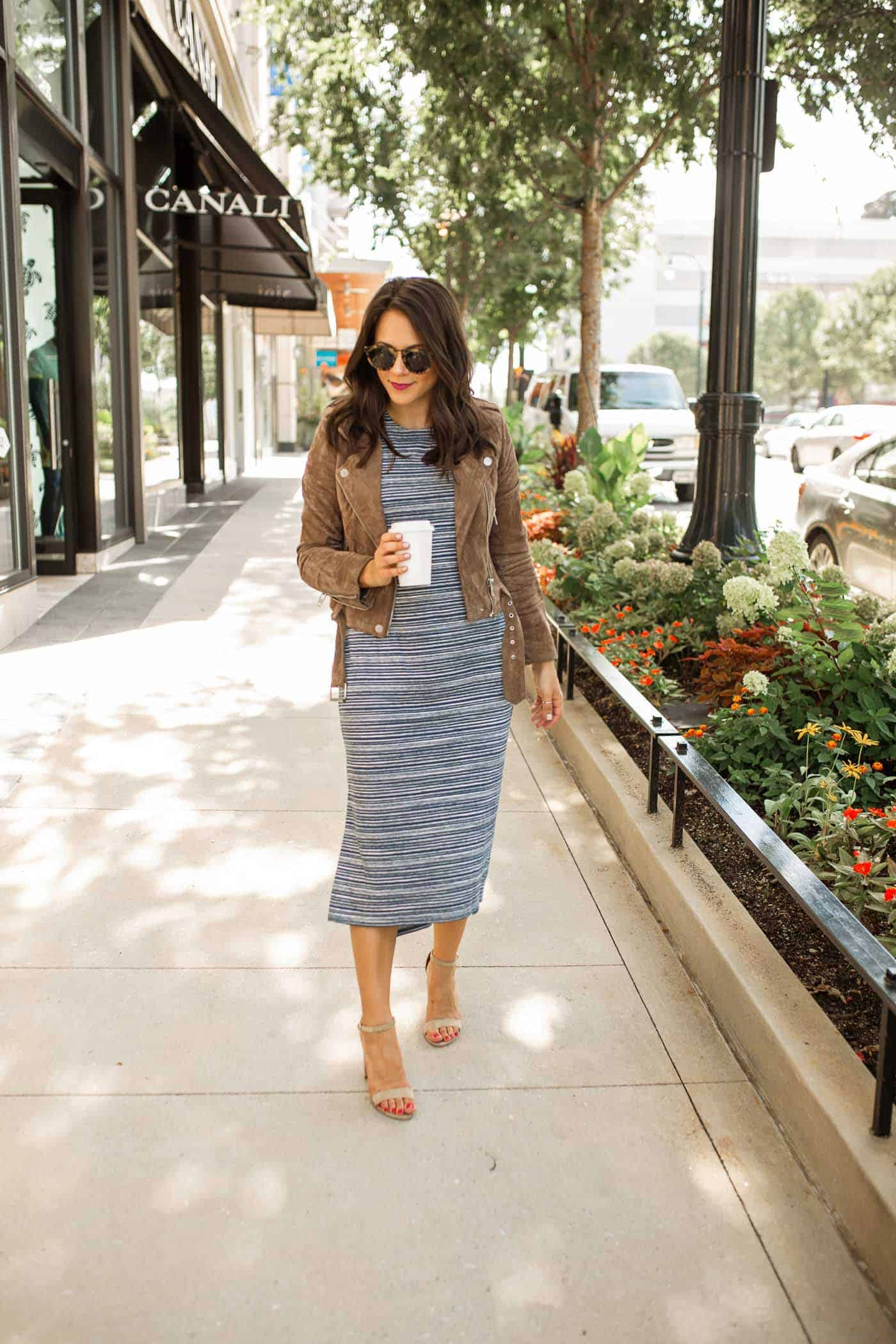 how to transition from summer to fall - midi dress with jacket - My Style Vita @mystylevita