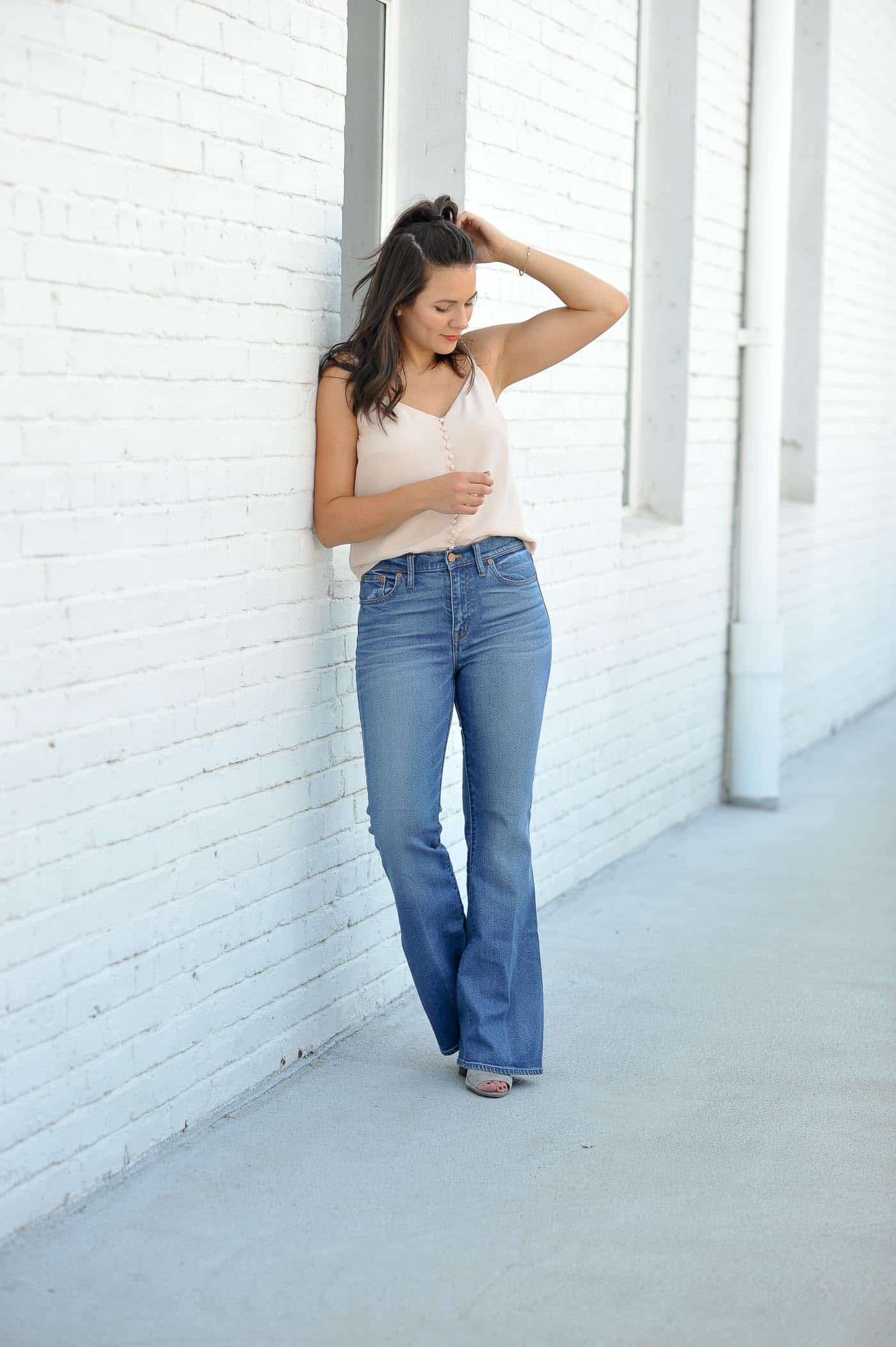 Millennial pink outfit idea, wide leg jeans - My Style Vita @mystylevita