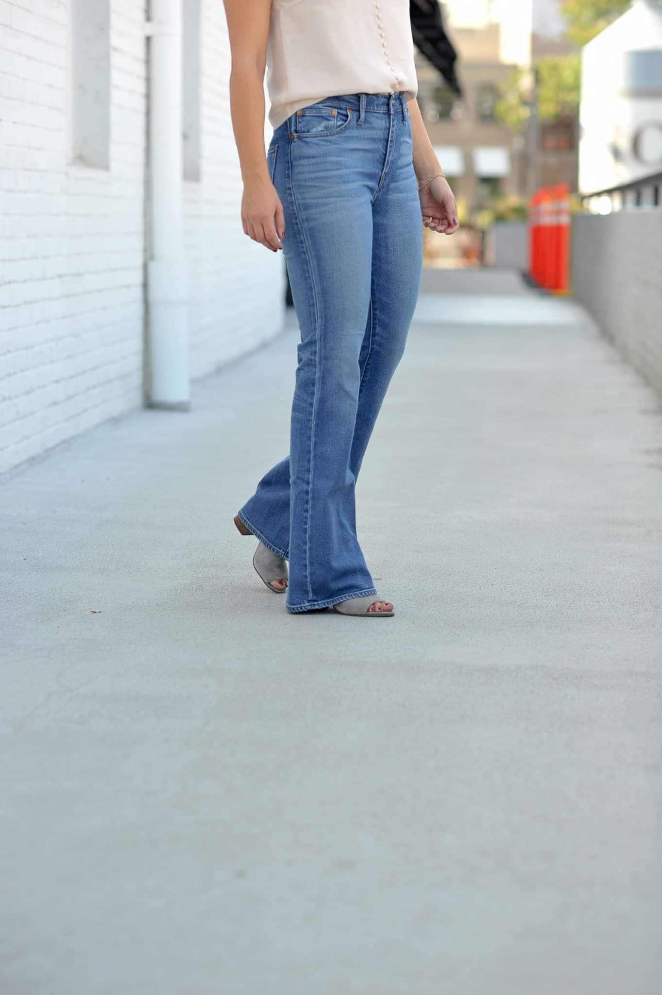 Millennial pink outfit idea, blush button down camisole, wide leg jeans - My Style Vita @mystylevita