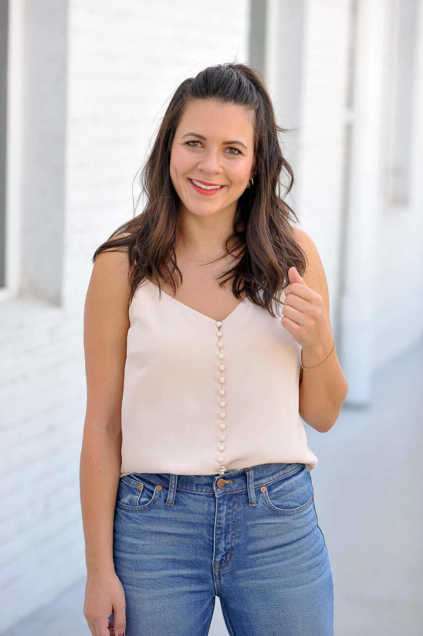 Millennial pink outfit idea, blush button down camisole - My Style Vita @mystylevita