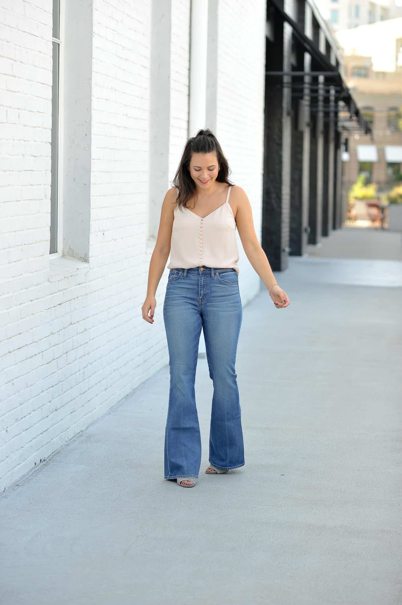 Millennial pink outfit idea, blush button down camisole, wide leg jeans - My Style Vita @mystylevita