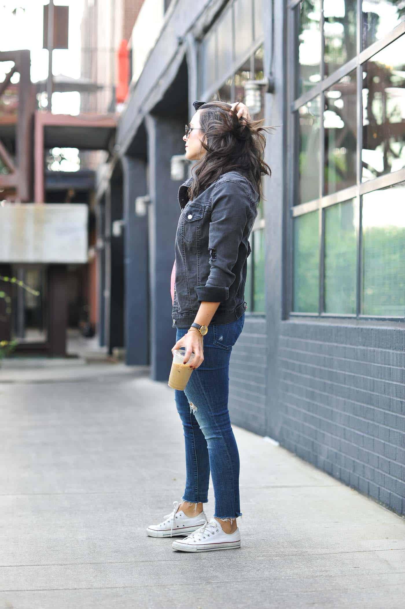 denim on denim, oversized black denim jacket - My Style Vita @mystylevita