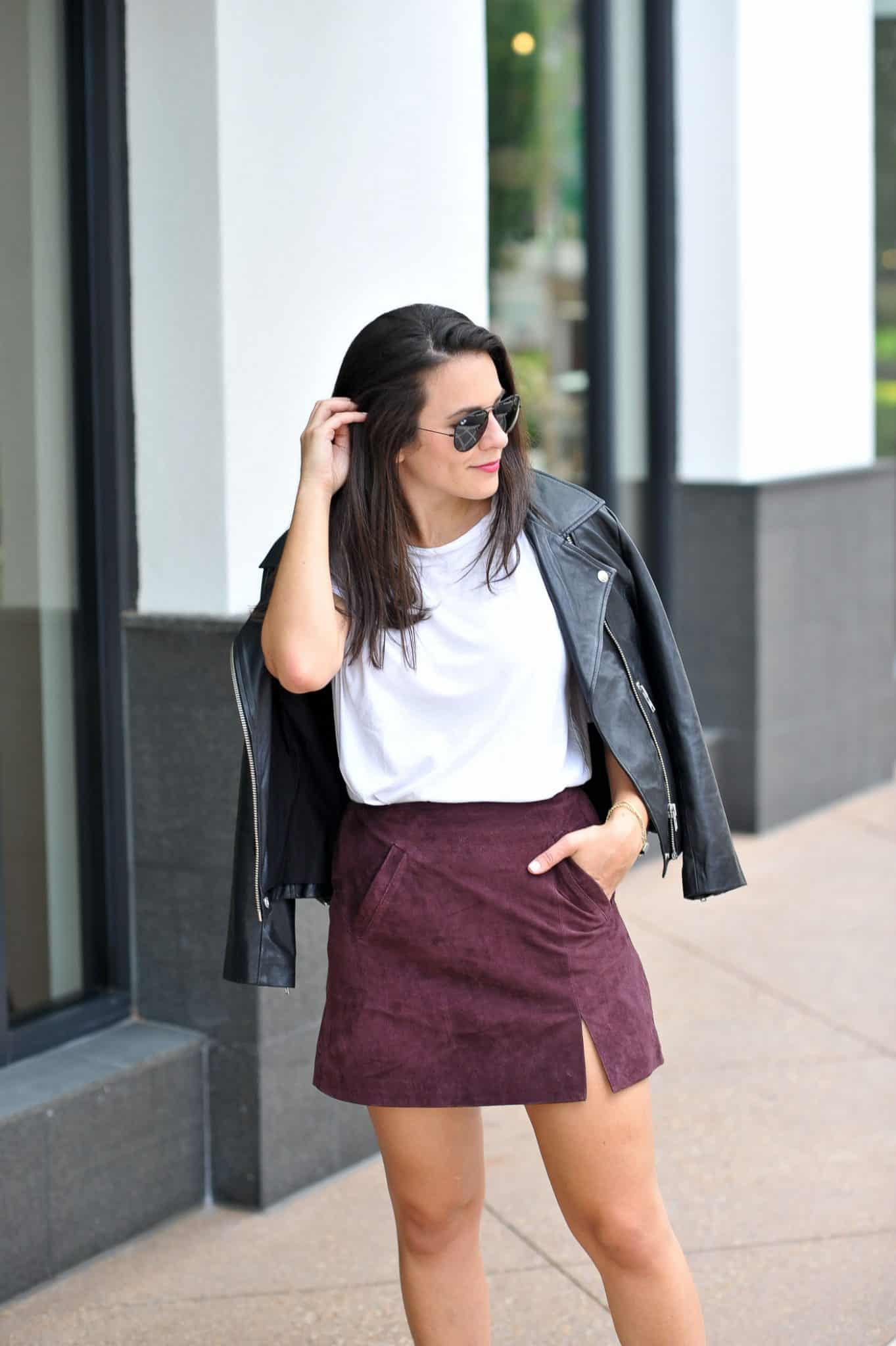 Styling Adidas For Fall With A Mini Skirt, Adidas outfit ideas, the best white tee - My Style Vita @mystylevita