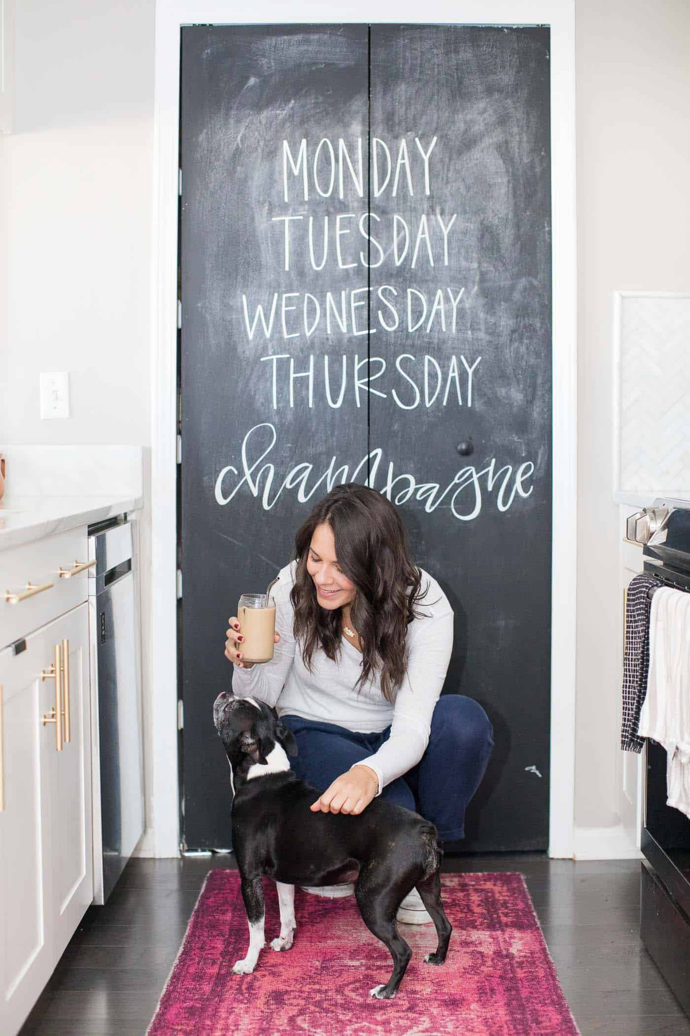Cold brew coffee at home, white and brass kitchen, comfy outfit, chalkboard pantry door - My Style Vita @mystylevita