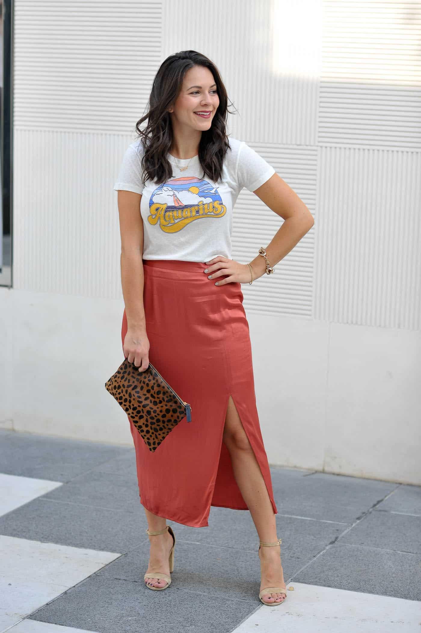 Aquarius Graphic Tee, how to style a silk midi skirt - My Style Vita @mystylevita
