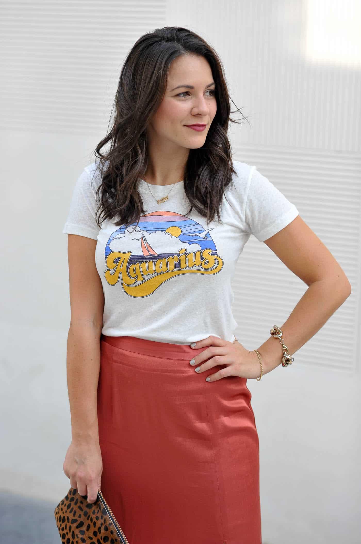 Aquarius Graphic Tee, zodiac tee, how to style a silk midi skirt - My Style Vita @mystylevita