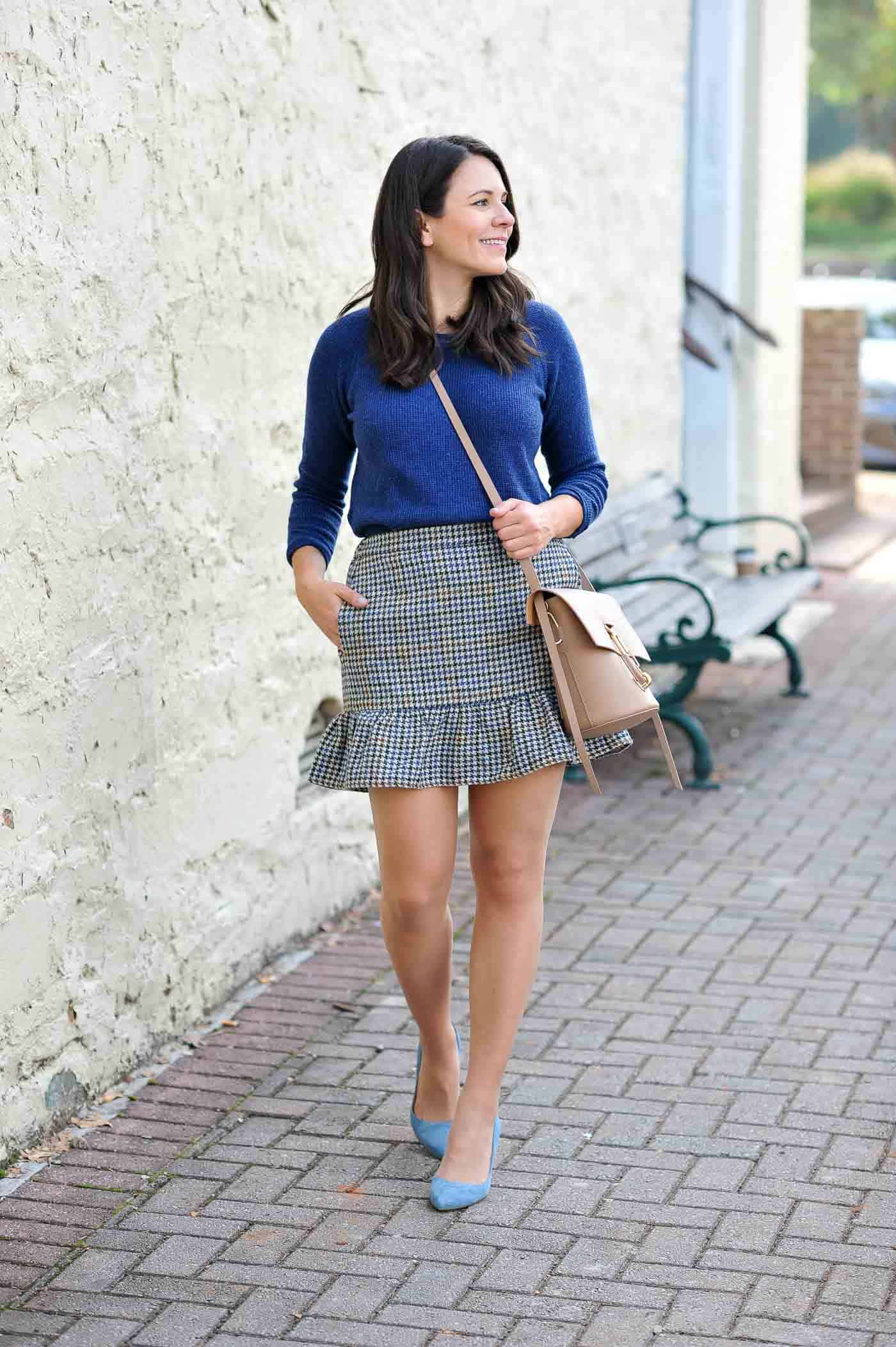 Navy sweater, J.crew houndstooth skirt, best tights to wear