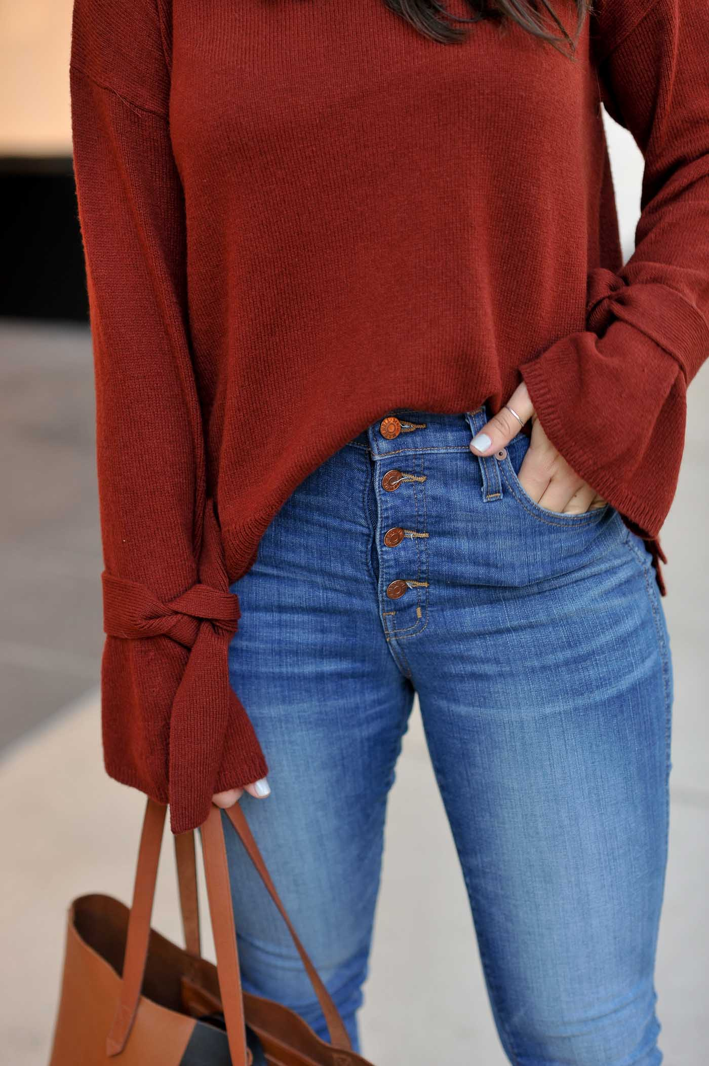 Madewell Tie Sweater, affordable fall outfits, sweaters for fall, casual fall outfits, high rise denim, button up jeans - My Style Vita @mystylevita