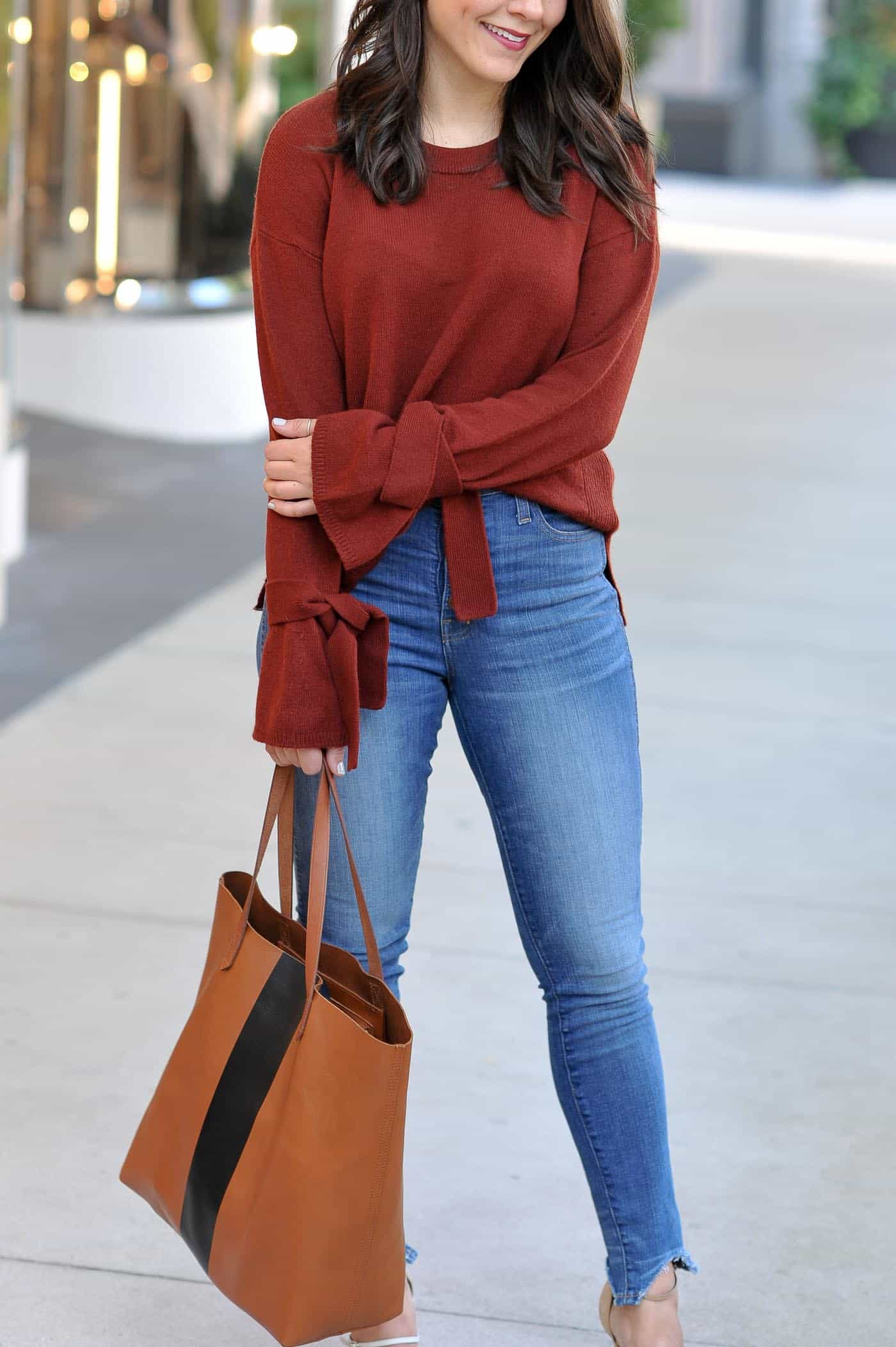 Madewell Tie Sweater, affordable fall outfits, sweaters for fall, casual fall outfits - My Style Vita @mystylevita