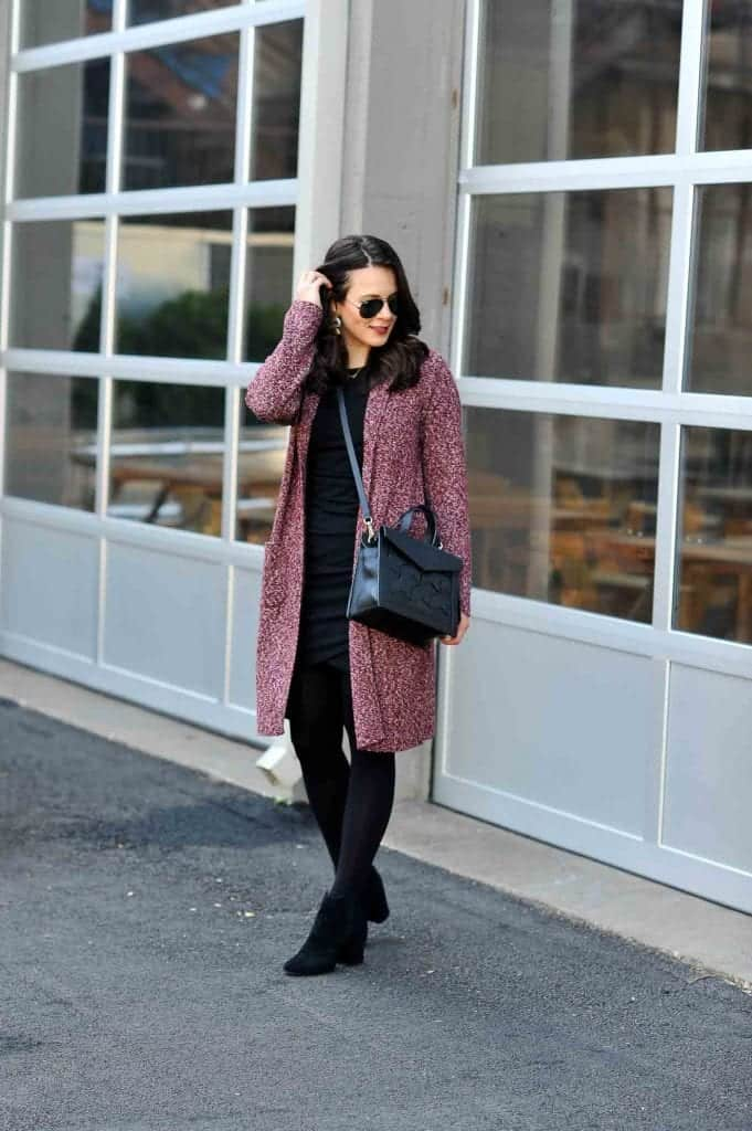 Cotton Dress Paired With Black Tights And A Long Cardigan